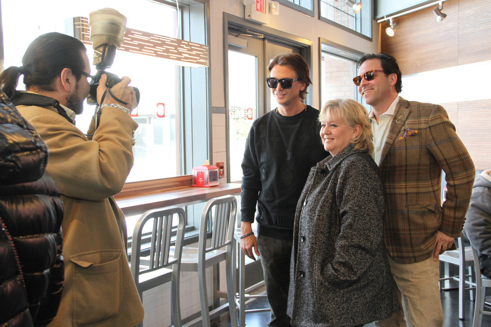 A photo op with Cheban, Herald editor Mary Malloy, and Bruce Becker of Max & Mina's Homemade Ice Cream and Ices.