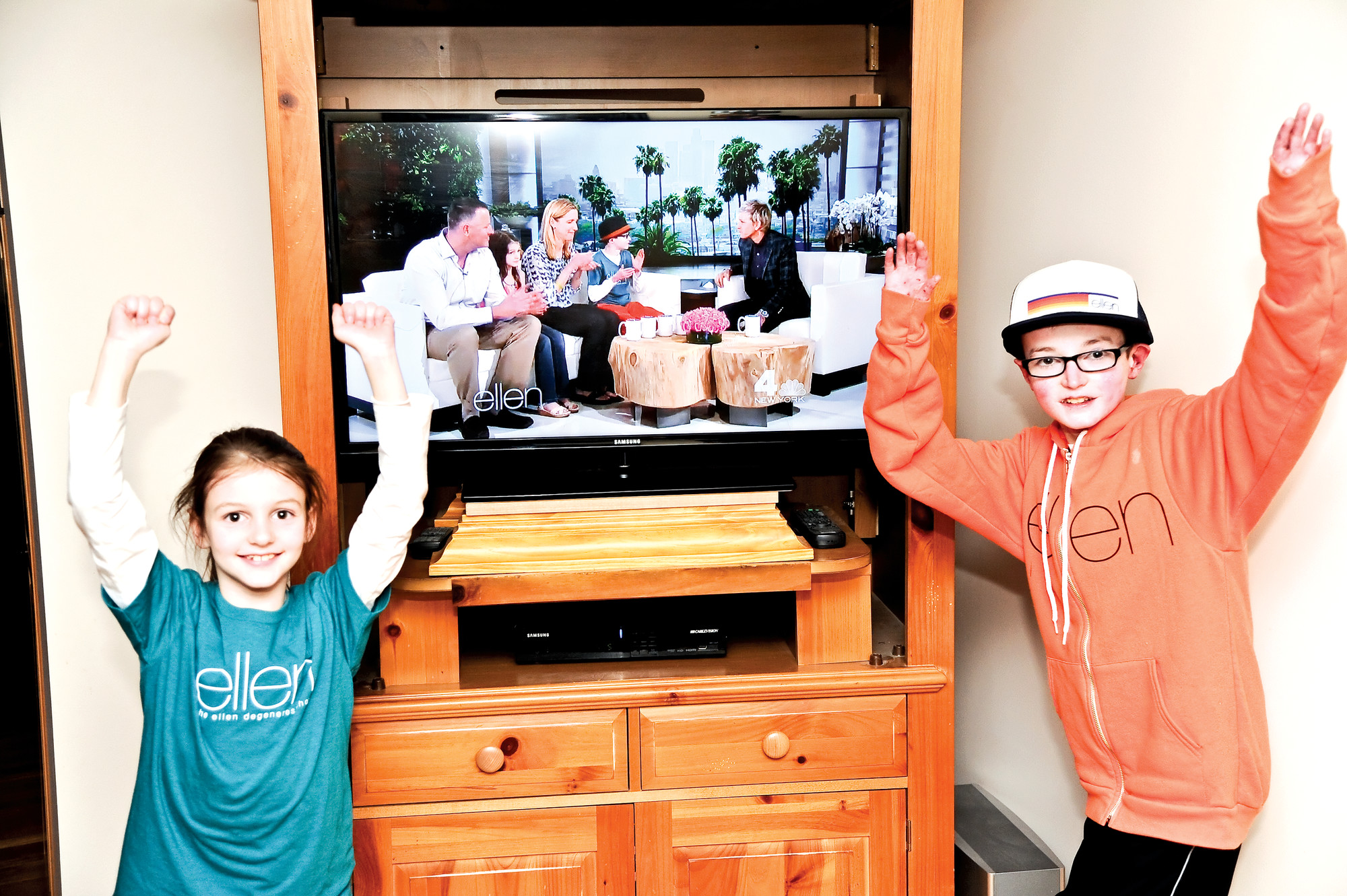 "Robbie Twible, 12, and his sister, Allison, 7, celebrated as they watched themselves on ""The Ellen DeGeneres Show"" on Monday."