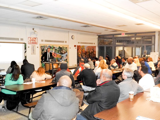 About 80 Baldwin residents attended a public information and input meeting on Feb. 24 at Baldwin High School, where Nassau County Department of Public Works employees and representatives from the LiRo Group discussed traffic on Grand Avenue and asked for recommendations on making it safer.