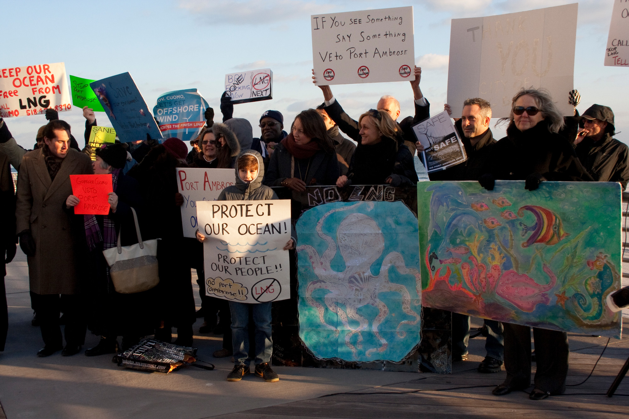 Protestors criticized the proposed Port Ambrose LNG terminal at a press conference on the boardwalk in January.