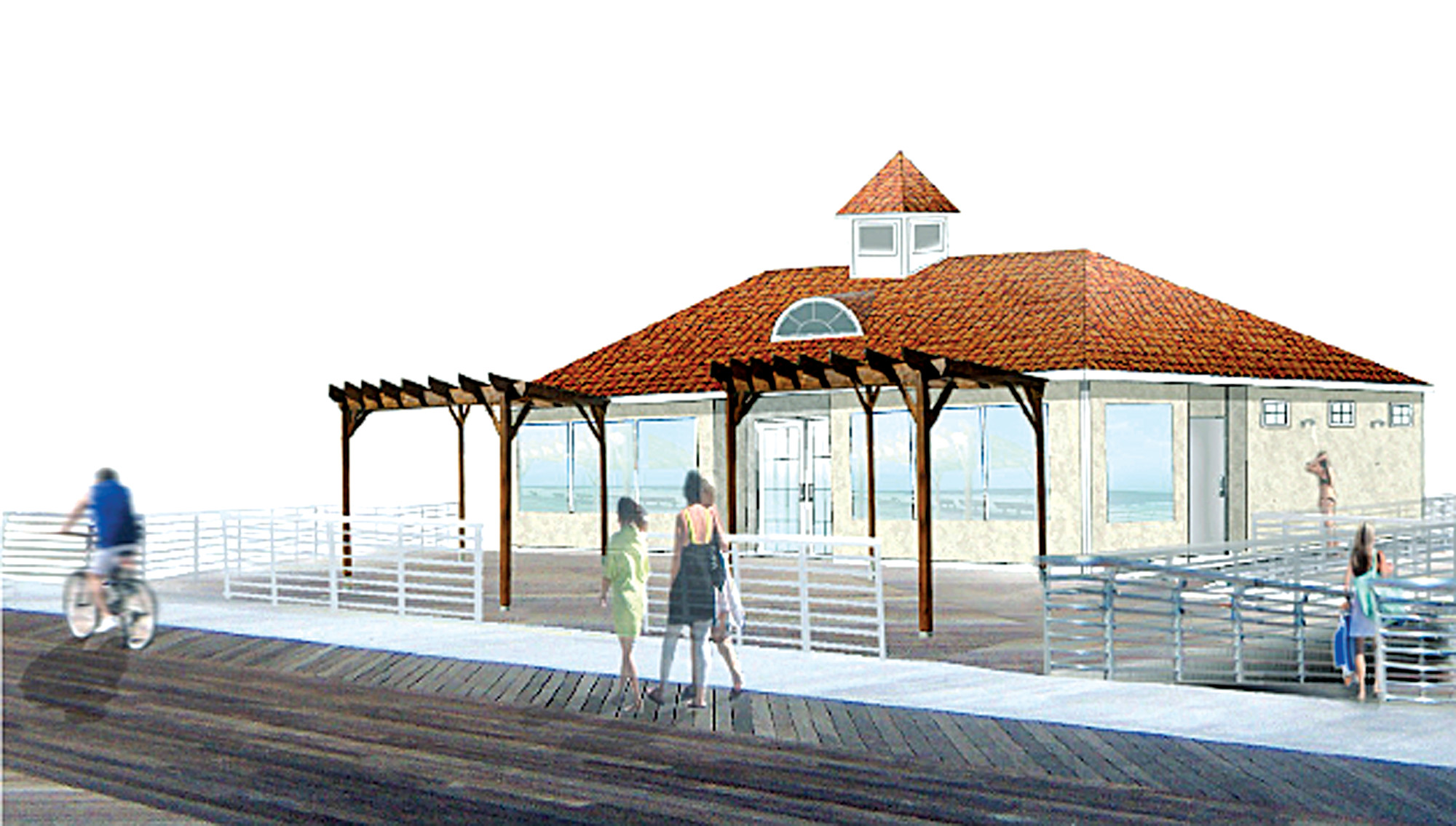 The city presented a rendering of new comfort stations and concessions that will be built along the boardwalk at Riverside, Edwards and Grand boulevards.