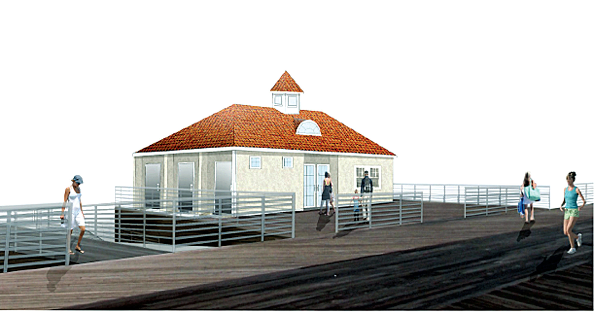 This planned comfort station at National Boulevard will feature three ADA-compliant bathrooms and a police substation at the boardwalk level.