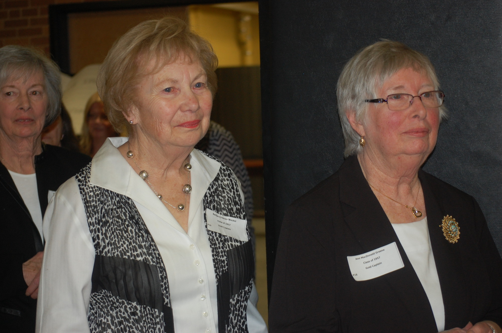 Barbara Wecker, left, and Ann Greene were captains of the 1957 Gold team.