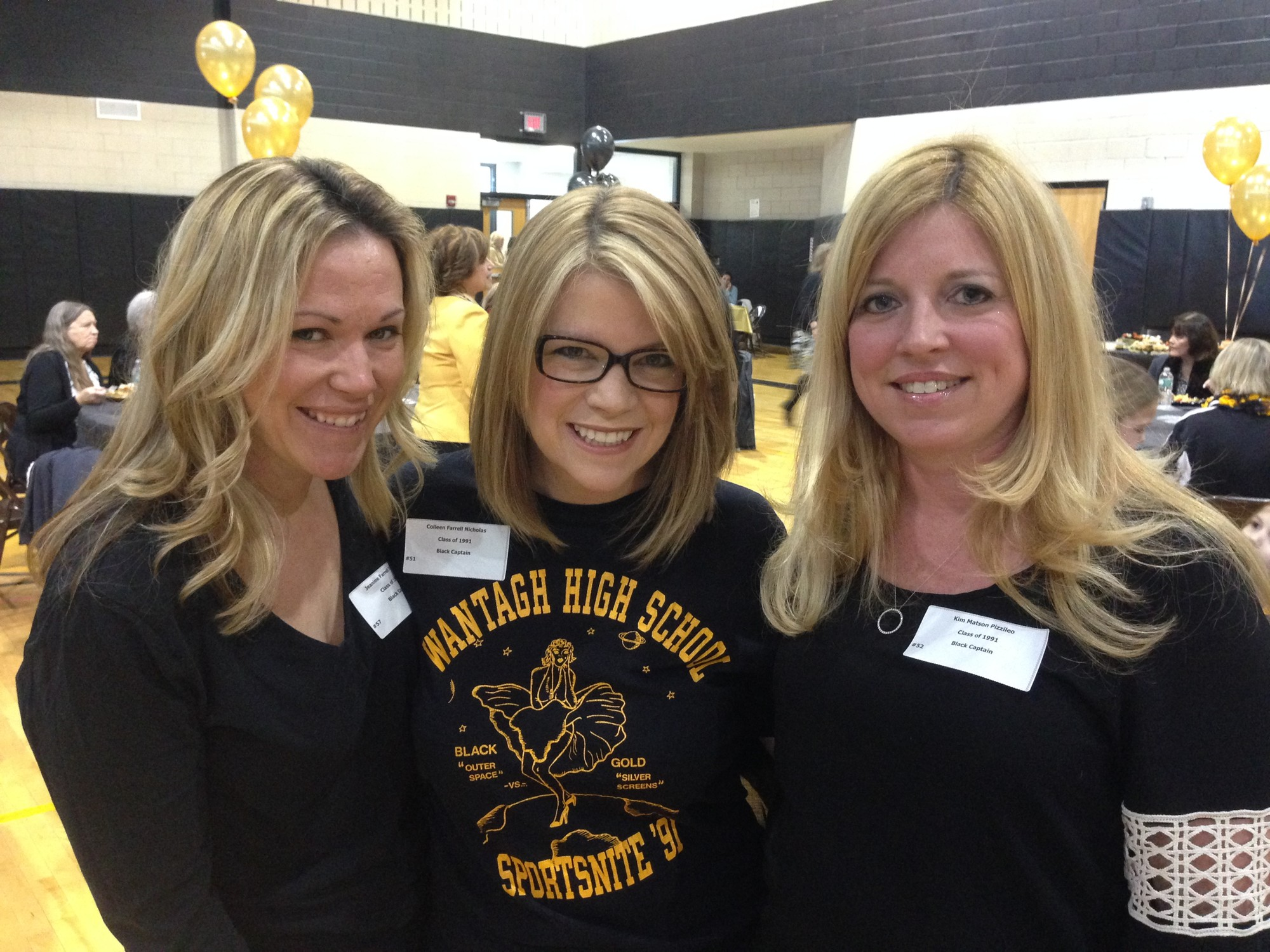 Former Black Team captains, from left, Jeanine Tinoco (1995), Colleen Nicholas and Kim Pizzileo (both 1991) were on hand for the alumni reception.