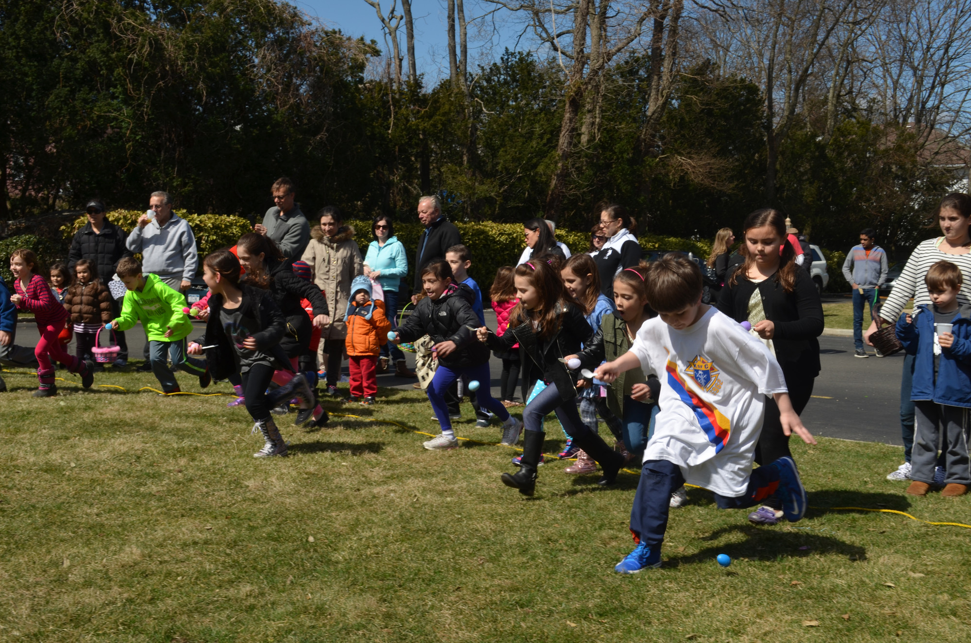 The Father John Farrell Council 5962 Knights of Columbus held their annual Easter Egg Roll at St. Joseph's R.C. Church in Hewlett, where the children competed in egg on a spoon races.