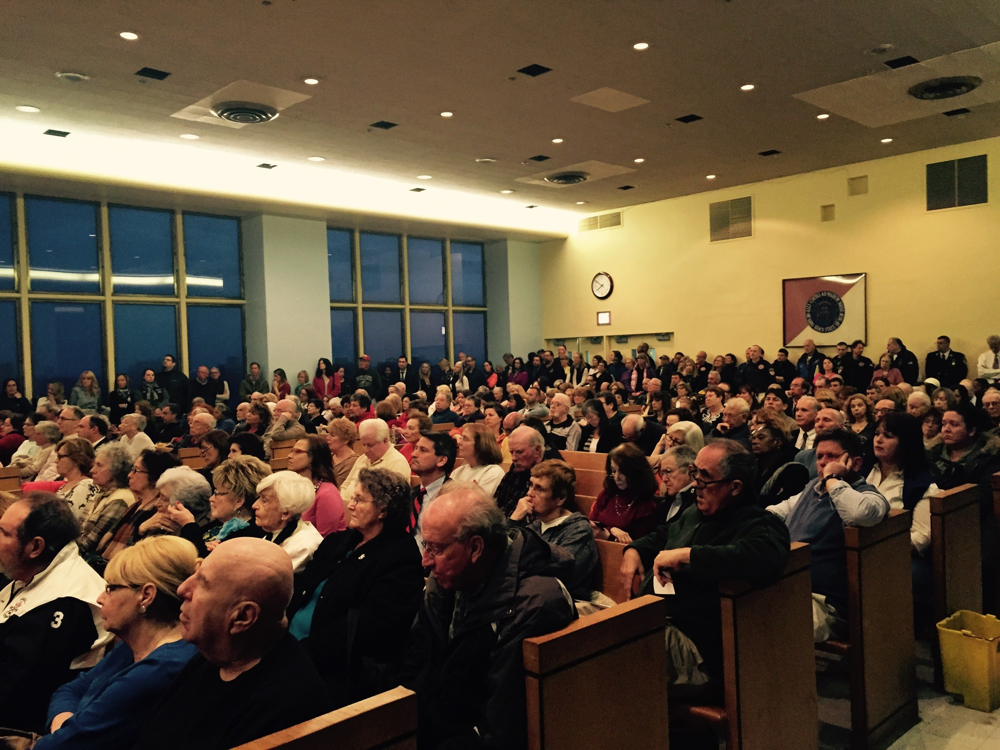 Hundreds of residents packed the sixth-floor auditorium of City Hall at Monday's forum.