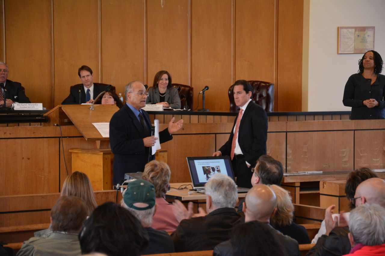 City Council president Len Torres, left, and State Assemblyman Todd Kaminsky addressed the audience.