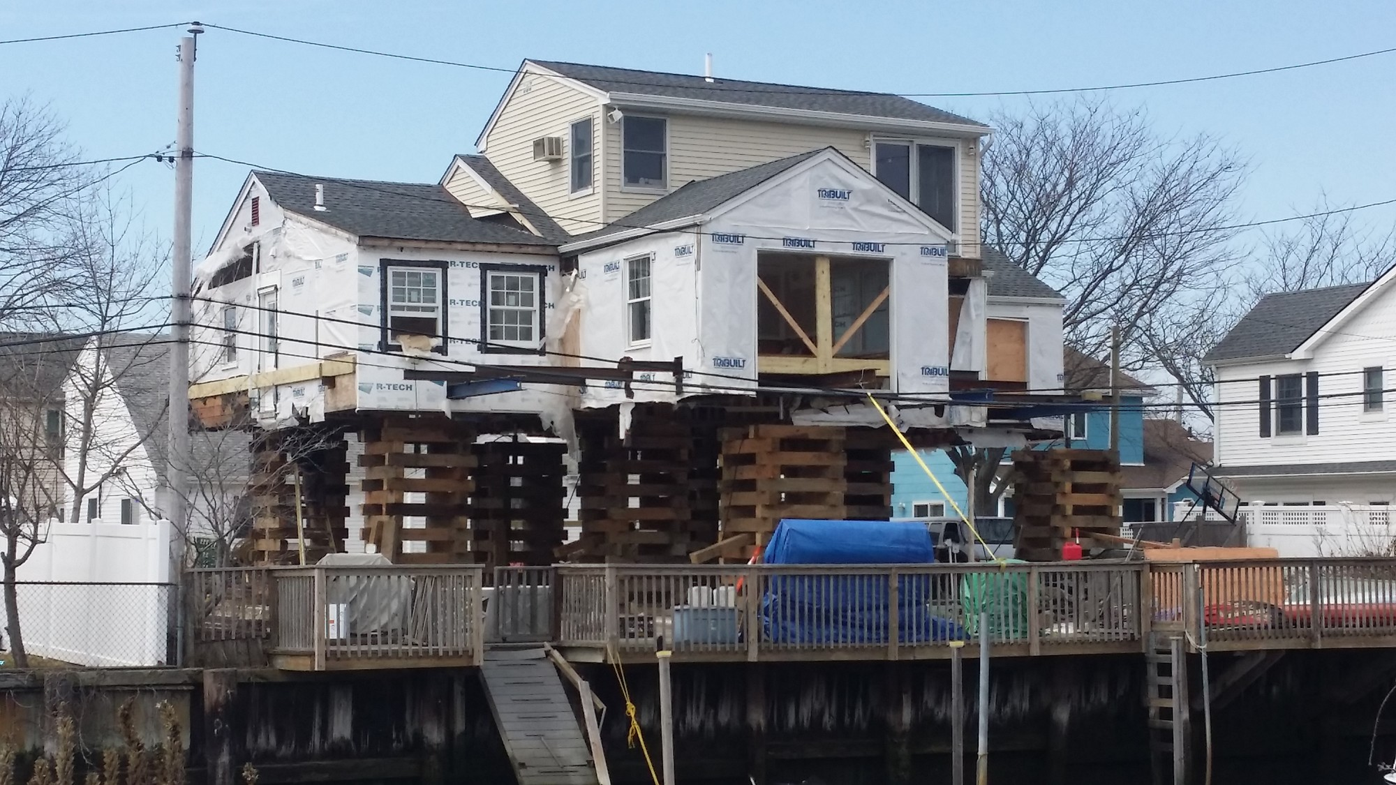 Hurricane Sandy ripped through Long Beach on Oct. 29, 2012. Now hundreds of homes in the city, such as this canal-front property, are being raised.