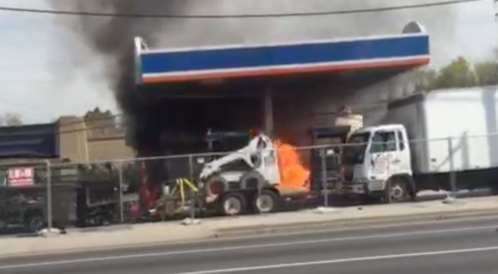 A fire was raging in Freeport at this gas station on Tuesday morning, May 5.