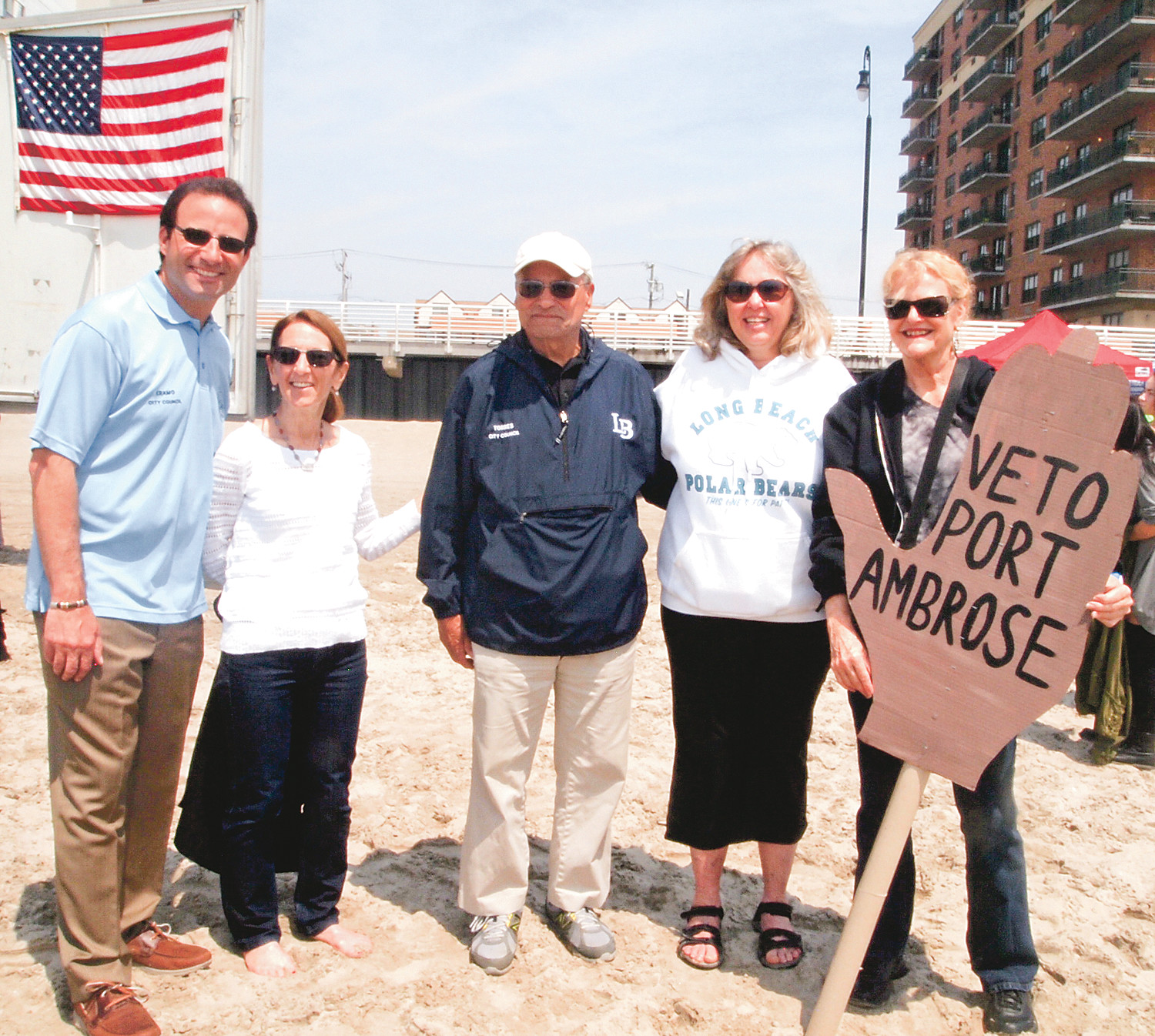 City Council member Anthony Eramo, left, Council Vice President Fran Adelson, Council President Len Torres, County Legislator Denise Ford and Johanna Mathieson or Artists-in-Partnership, Inc. protested the proposed LNG facility.