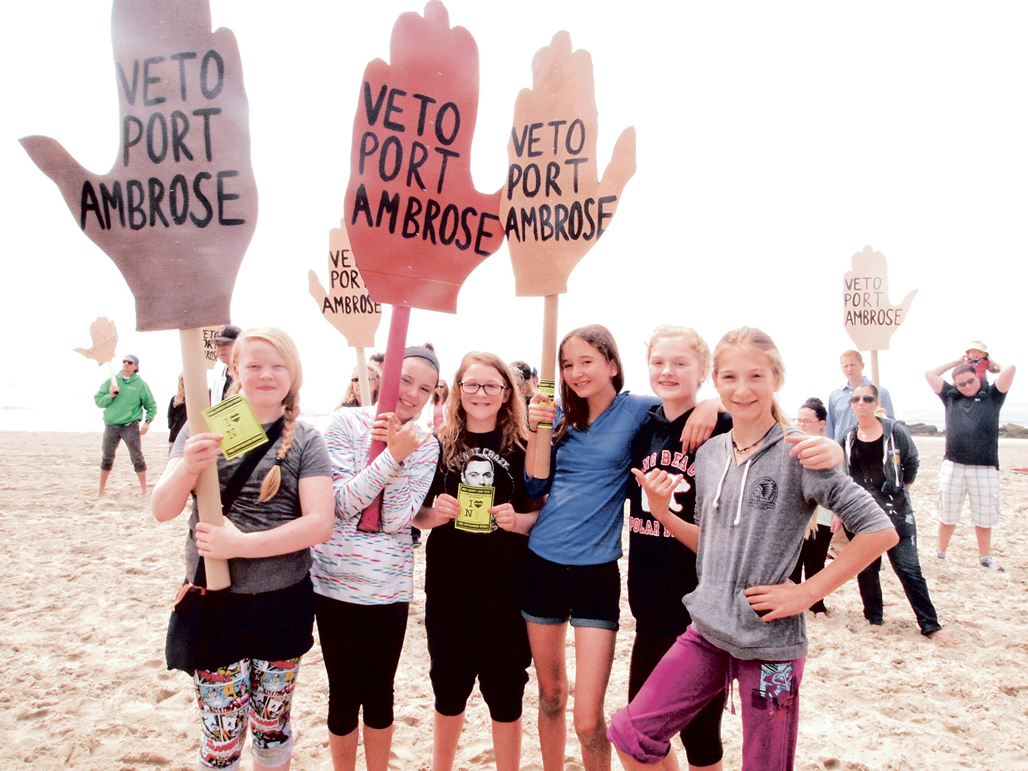 Young Surfriders Abigail Murray, left, Fiona Power, Ceili Heffernan, Lucia Tomicick, Ava Rockefeller and Noelle Michelman