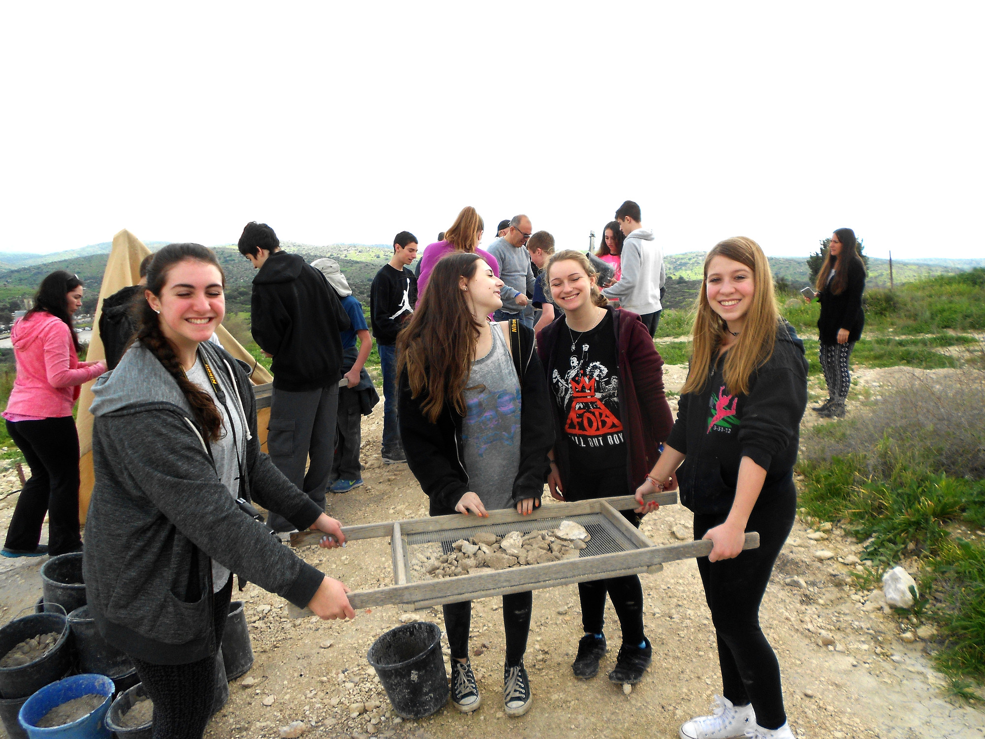 At Beit Guvrin, southwest of Jerusalem, the students assisted at an archaeological dig for the ruins of a city from 165 B.C.E. From left were Danielle Schwartz, Allison Singer, Rachel Gershengoren and Maggie Zaretz.