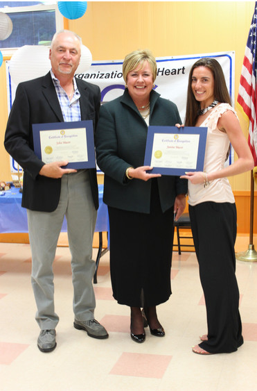 The JCC of the Greater Five Towns held its annual board meeting and volunteer recognition meeting on June 24. From left are John Mazur, volunteer, Town of Hempstead Supervisor Kate Murray and volunteer Janine Mazur.