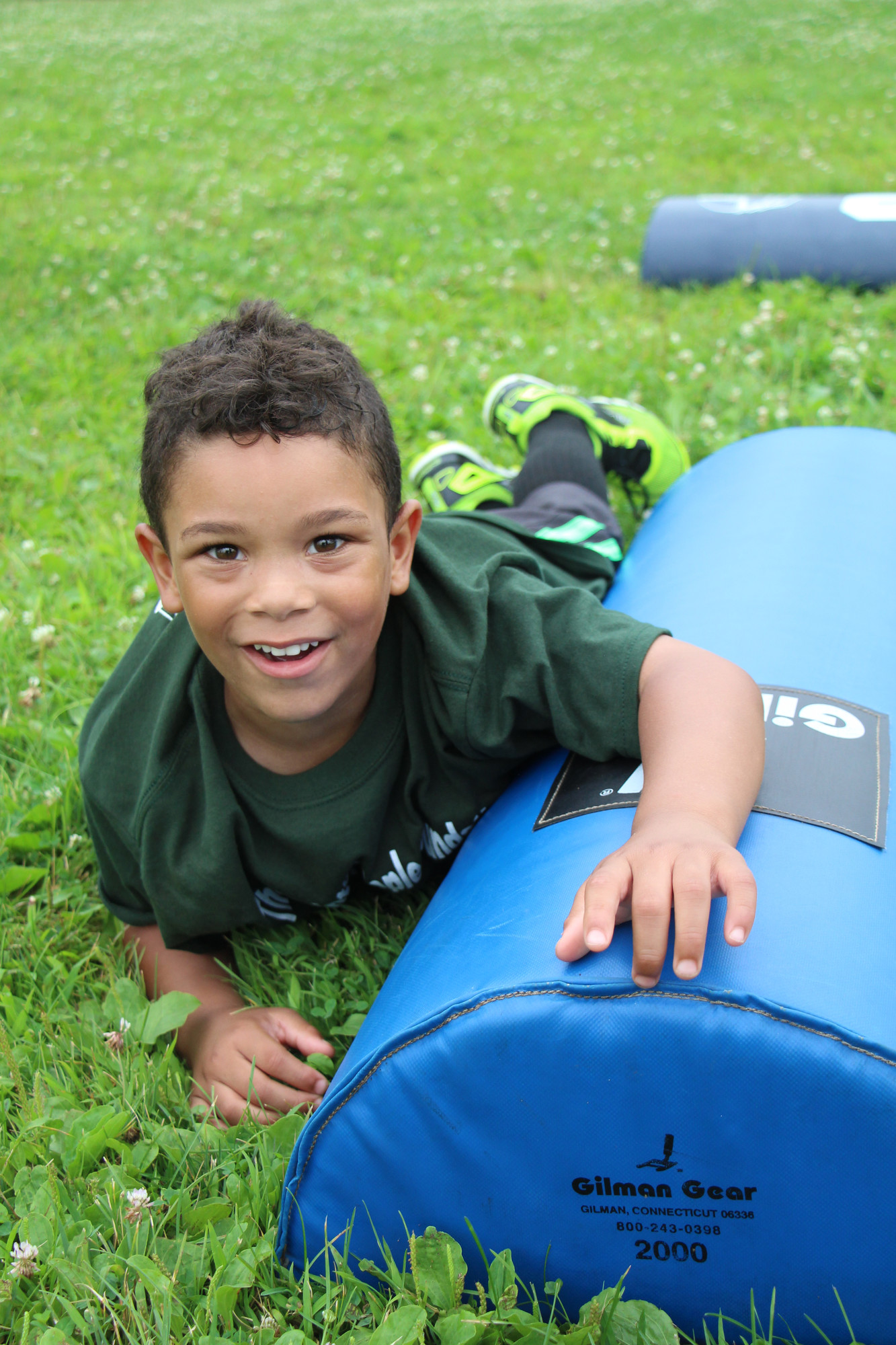Ethen Johnson, 5, took a break after running around Baldwin Park working on his football skills.