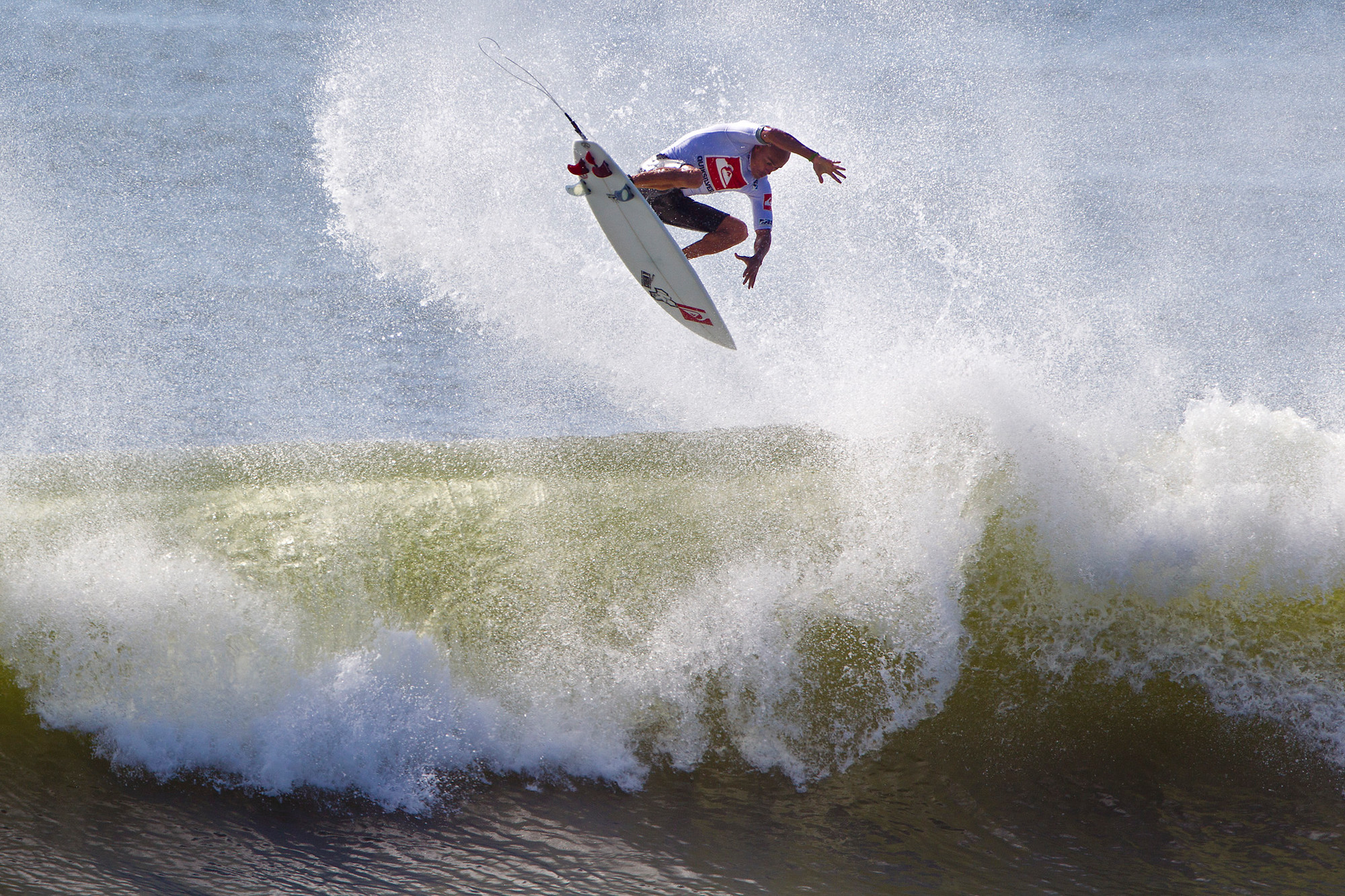 Pro surfer Kelly Slater during the finals of the Quiksilver Pro New York in 2011.