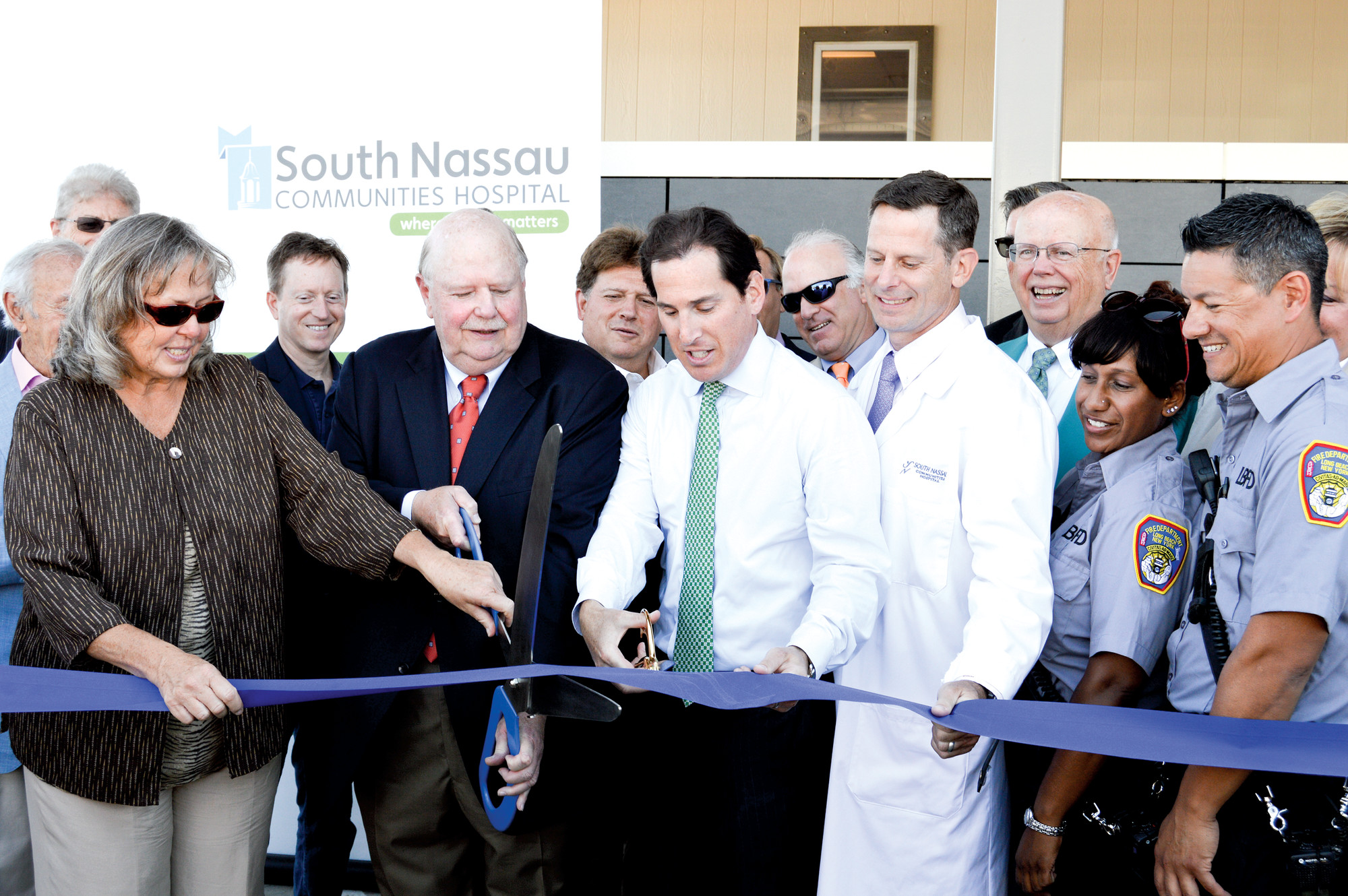Local officials gathered for a ribbon-cutting ceremony on Monday to mark the opening of South Nassau Communities Hospital's new free-standing emergency department in Long Beach, the first emergency facility to operate on the barrier island since Hurricane Sandy.