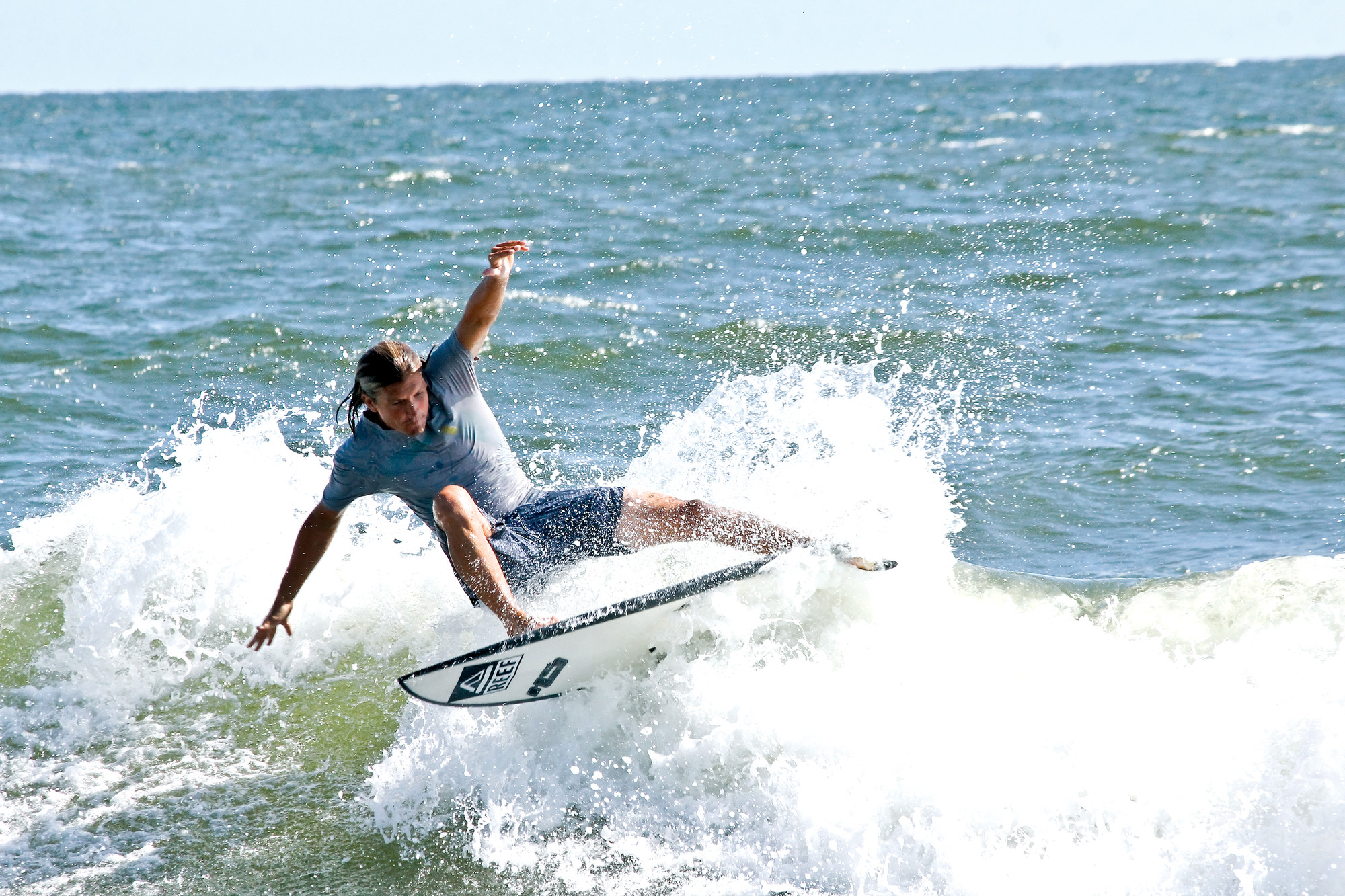 Professional surfer TJ Gumiela, of Long Beach, advanced the farthest of any competitor from New York.