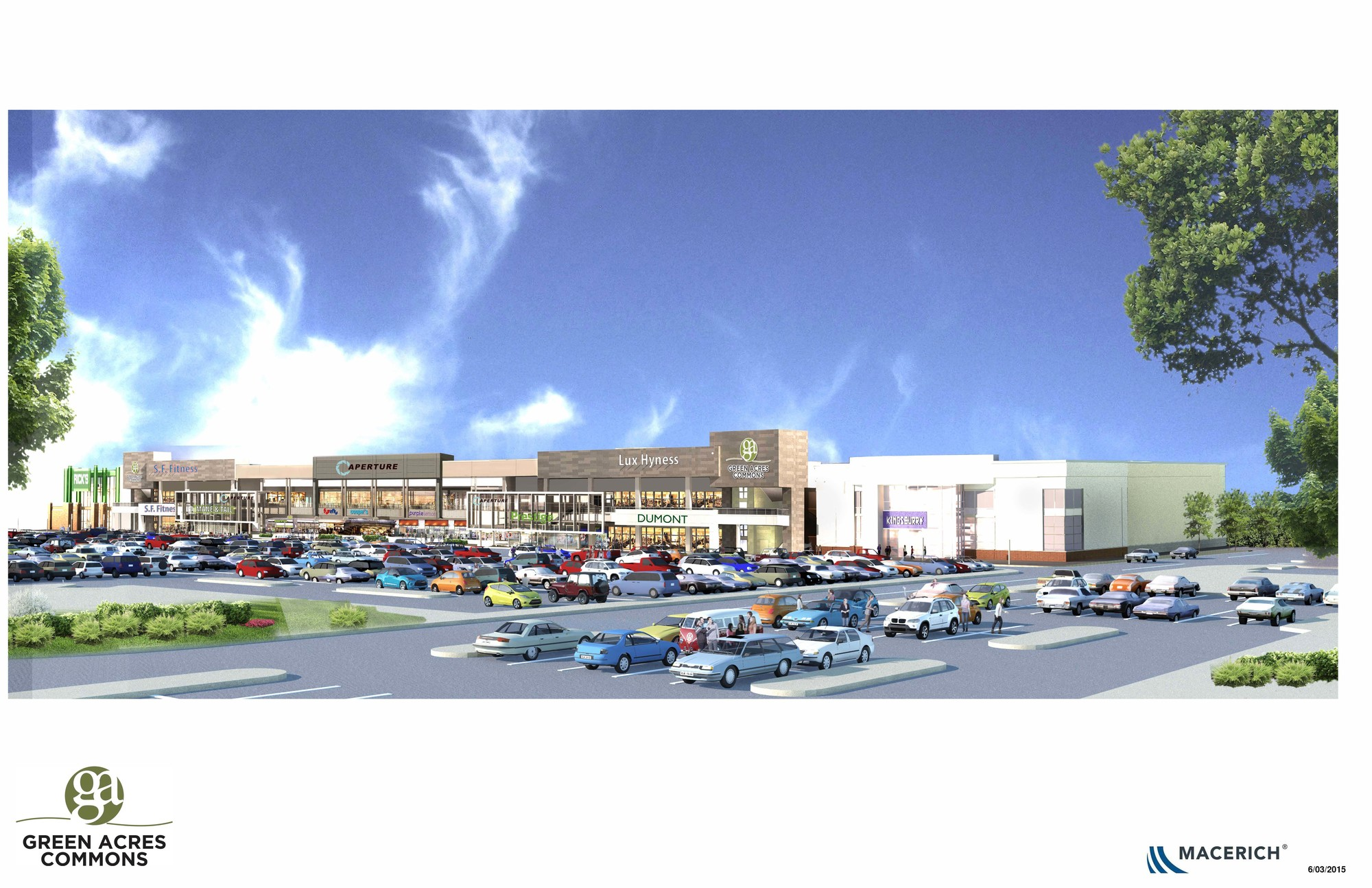 The Green Acres Commons shopping center will be built on 20 acres next to the Green Acres Mall. It is expected to open in fall 2016.