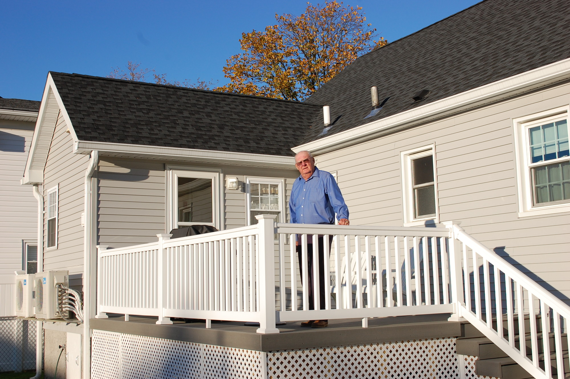 Charles Wroblewski had an extension built onto his Riverside Drive home in Seaford to replace the space lost when he filled in his basement, which flooded during Hurricane Sandy on Oct. 29, 2012.