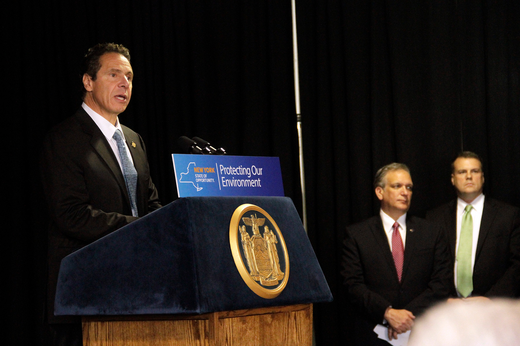 Susan Grieco/HeraldGov. Andrew Cuomo announced that he would veto the proposed liquefied natural gas import facility Port Ambrose at a press conference at the Long Beach Ice Arena on Nov. 12.
