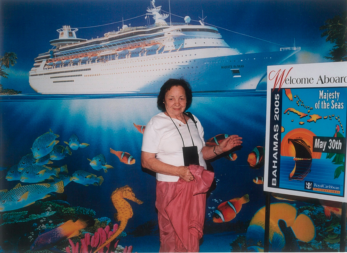 "Genevieve Russell Burns known as ""Aunt Genny"" on a cruise in 2005."