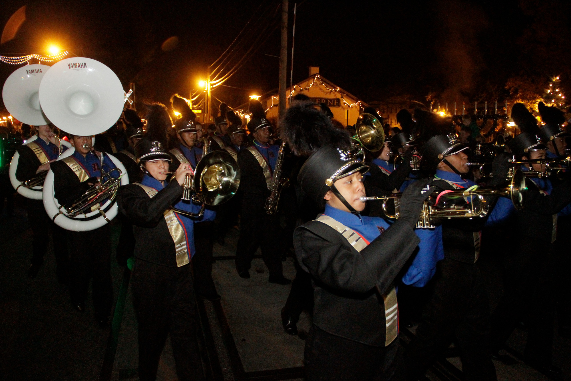 Malverne HS Marching Band performed during the Elf Parade.