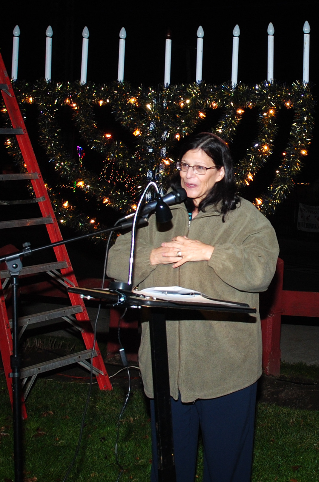 Rabbi Susan Elkodsi of the Malverne Jewish Center said a prayer during the lighting of the menorah in Malverne.