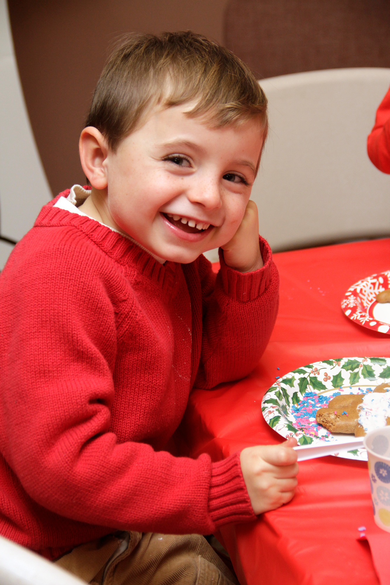 """No flash photography, please!"" says 5-year old Luke McKeon during Malverne's cookie workshop."