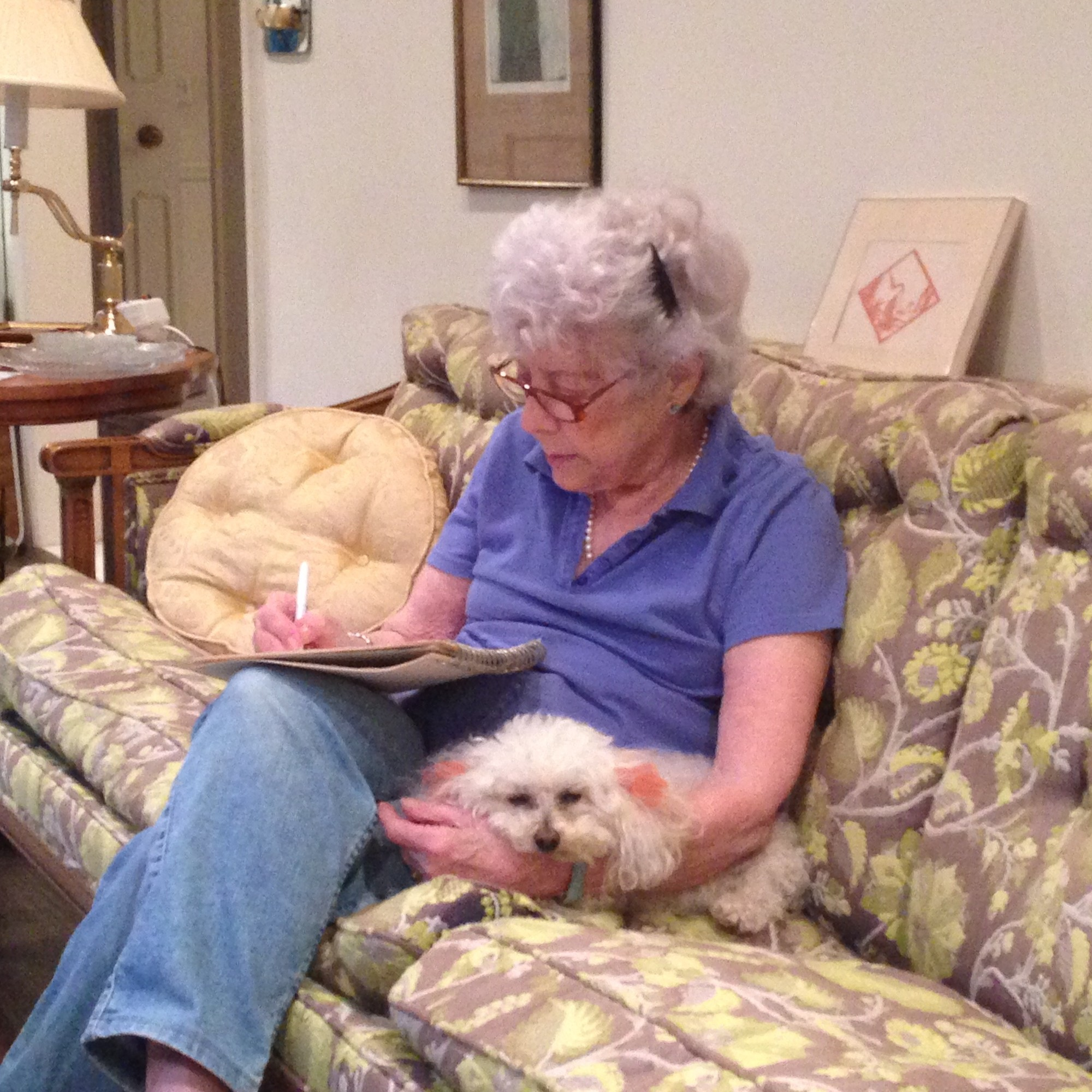 Lenore Kramer solving a New York Times crossword puzzle 
