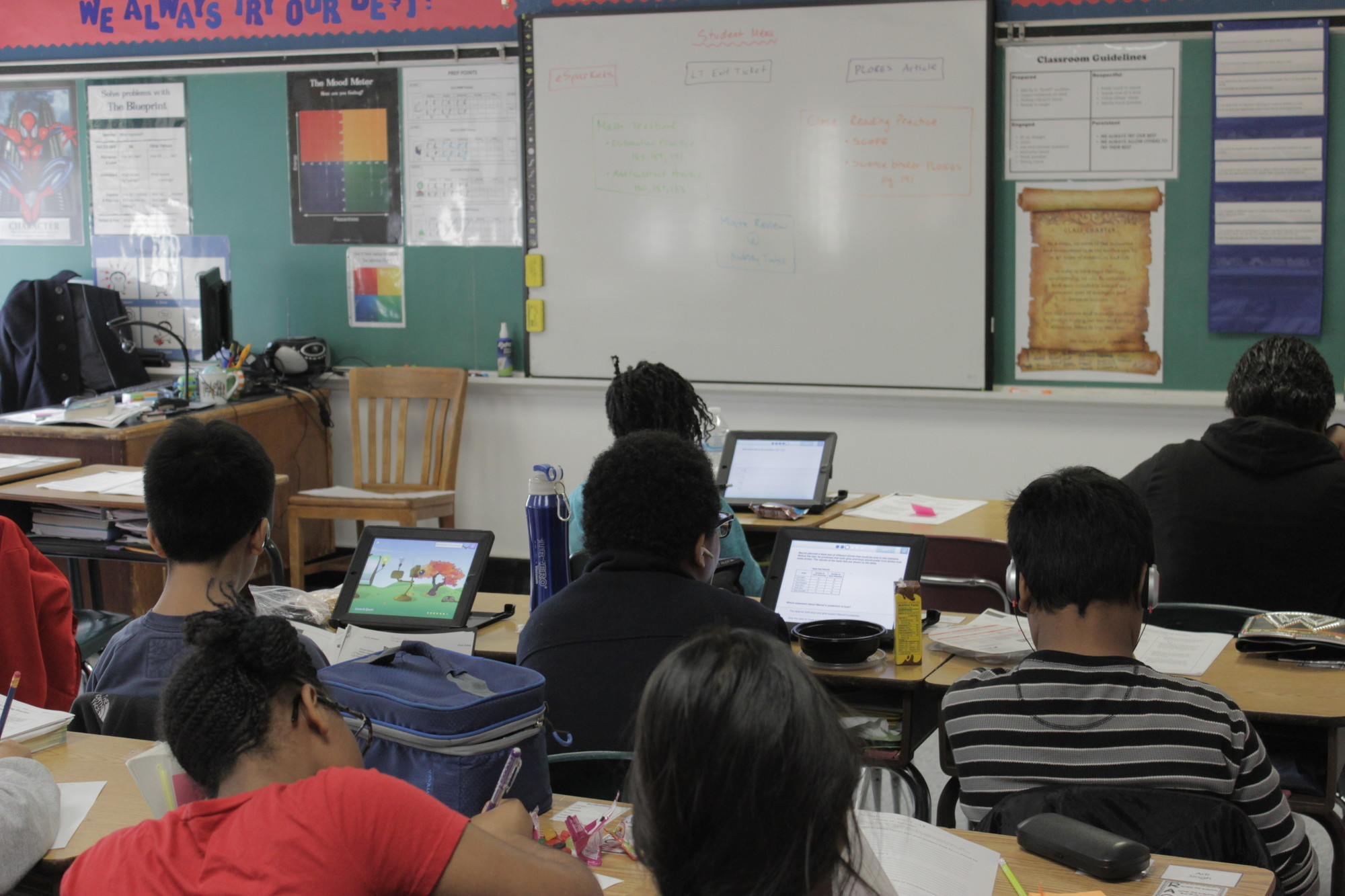 A classroom of students used iPad-based learning software at the Shaw Avenue School on Dec. 10.