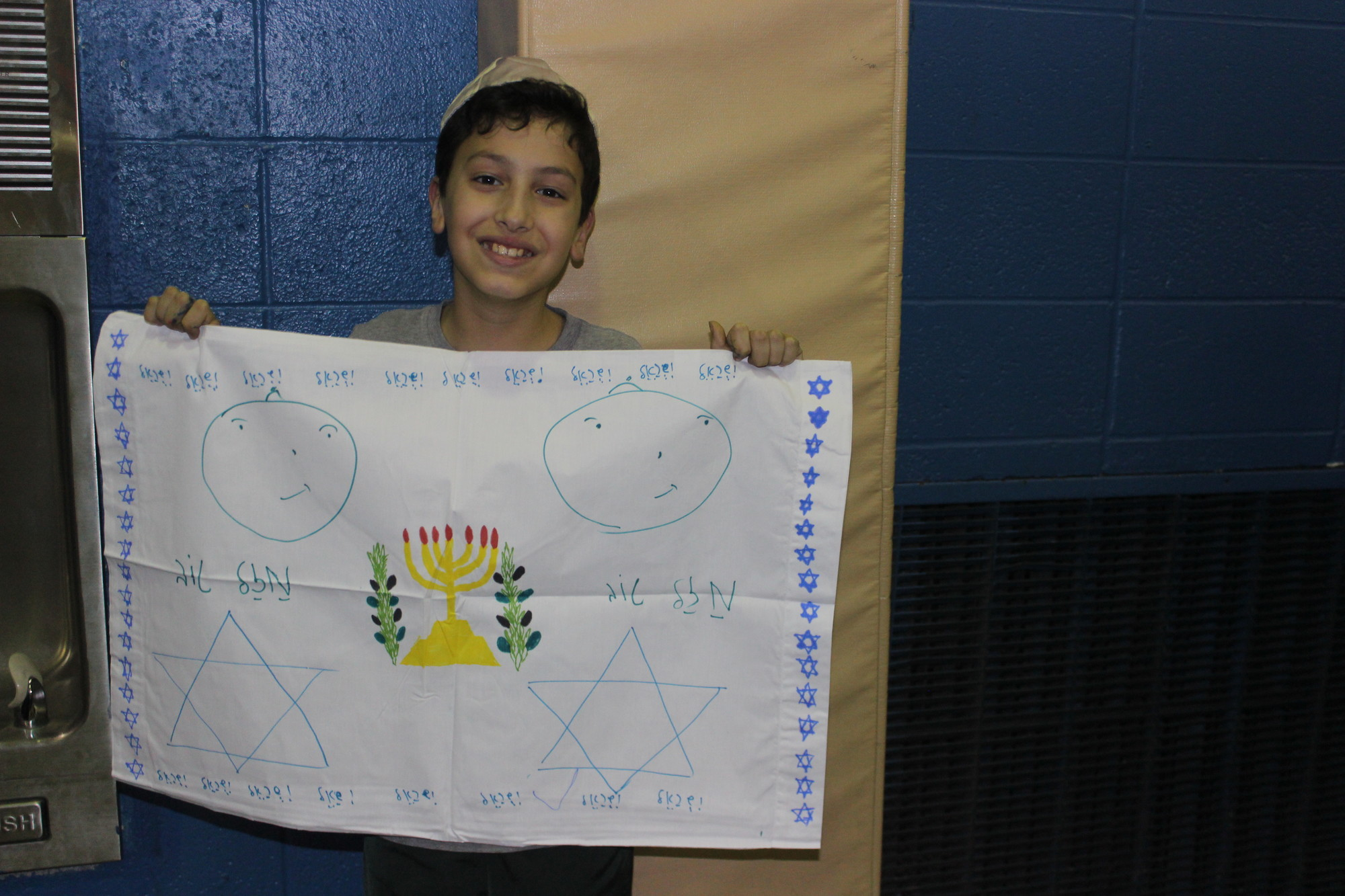"Dvir Gamliel, 10, of Woodmere, contributed to the Brandeis School's chesed project, ""Pillowcases for Pediatrics."""