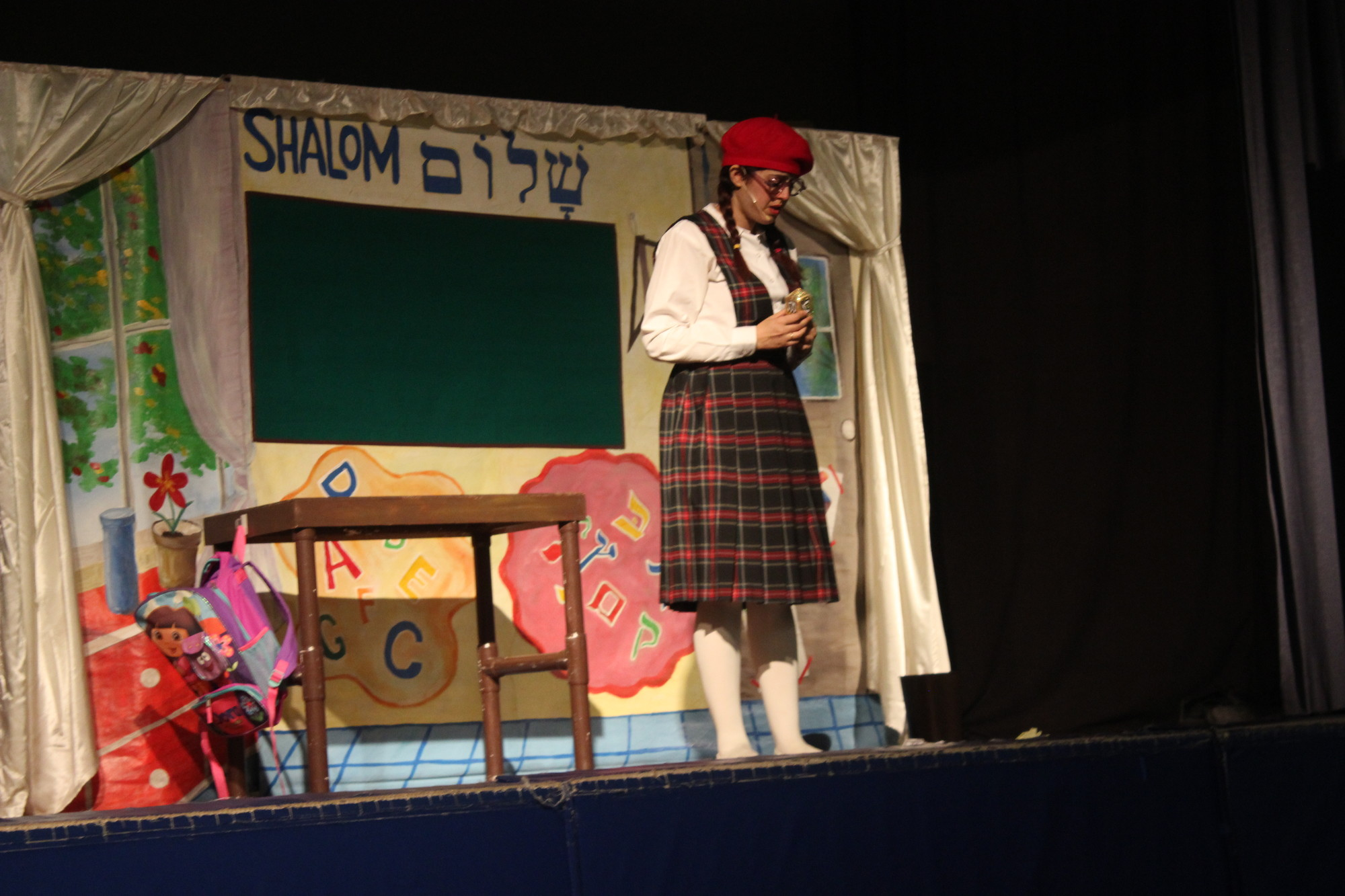 "At the Brandeis School's Hanukah celebration, the Yeladudes Theater group performed a play, ""The Hanukkah Miracle."""