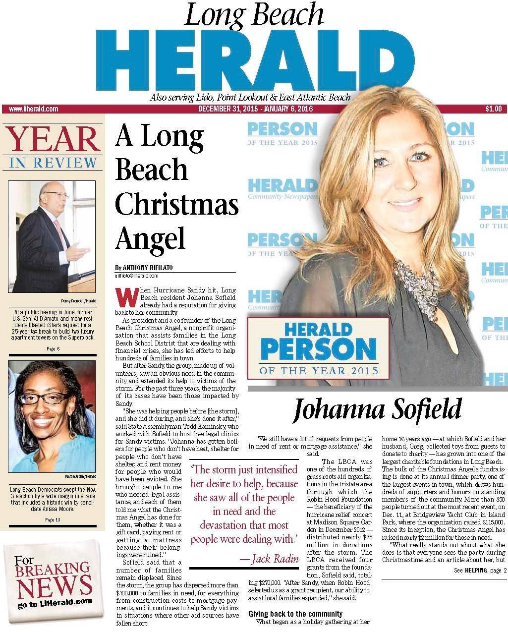 Johanna Sofield, president and co-founder of the nonprofit organization the Long Beach Christmas Angel, is the Herald's 2015 Person of the Year.
