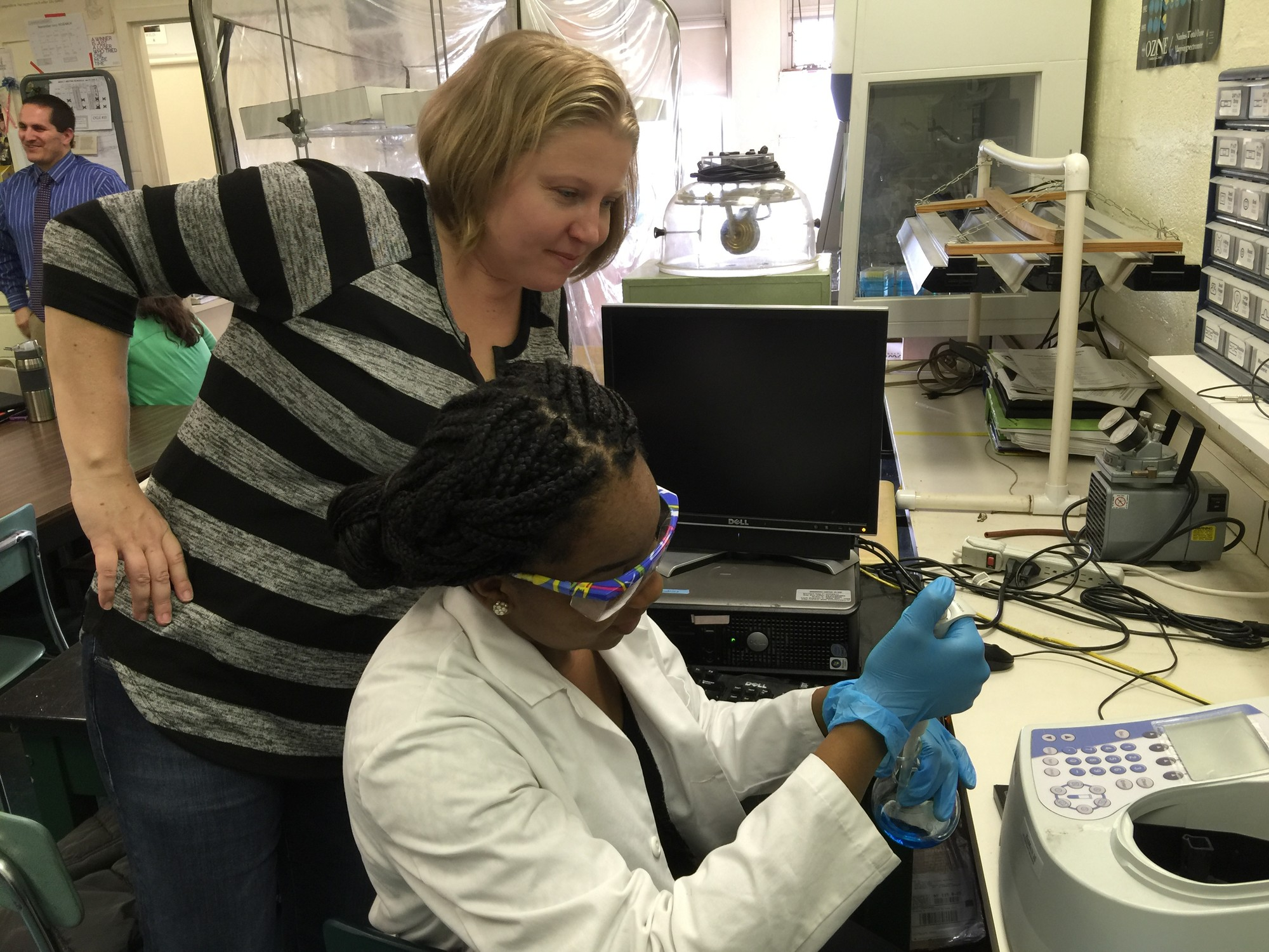 Elmont High School science research adviser Michelle Flannery has been working with Augusta Uwamanzu-Nna since she was in ninth grade.
