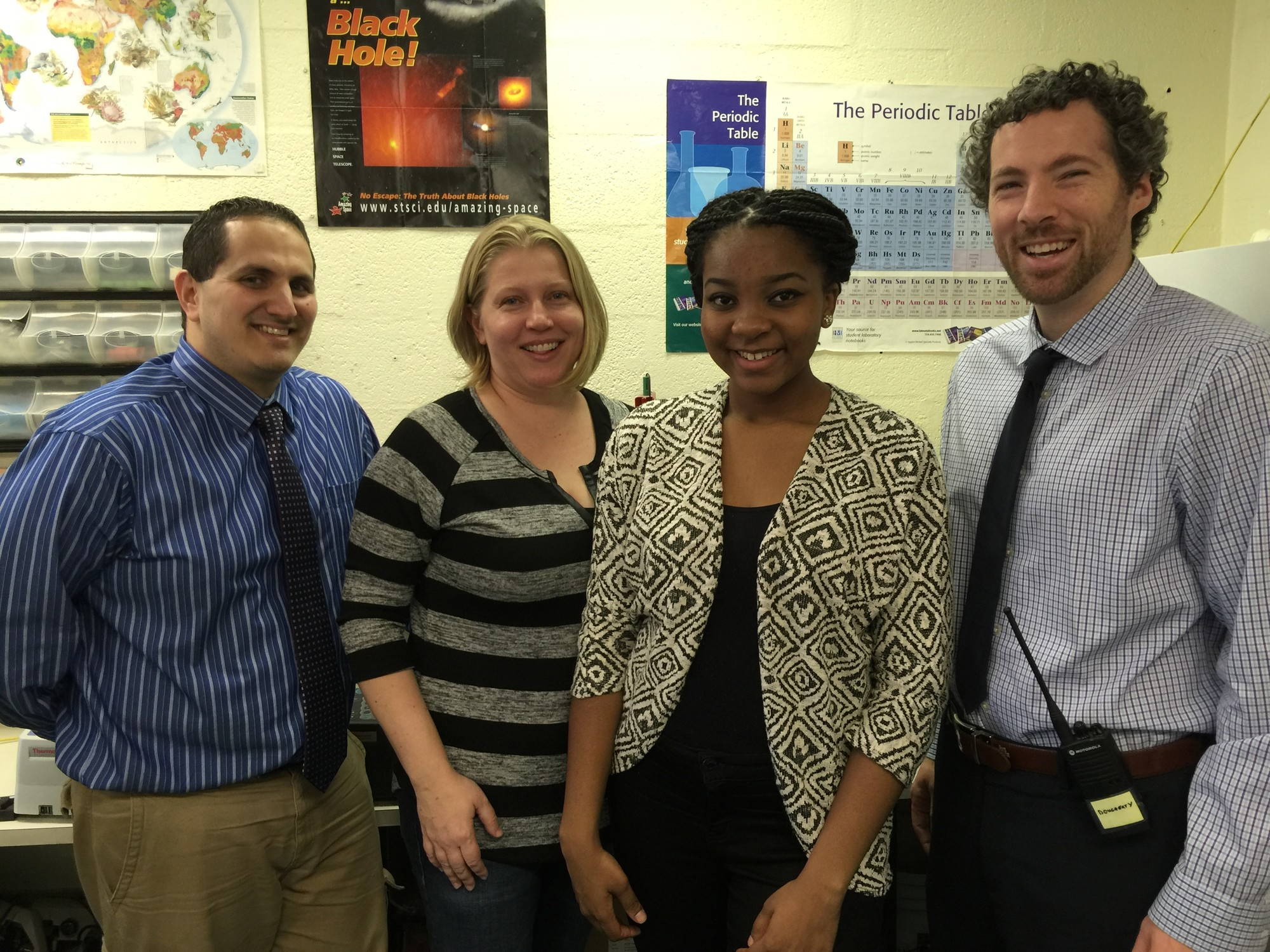 Augusta is the first student in Elmont High's history to be named an Intel finalist. She is pictured above with, from left, science research advisers David Spinnato and Michelle Flannery and Principal Kevin Dougherty.