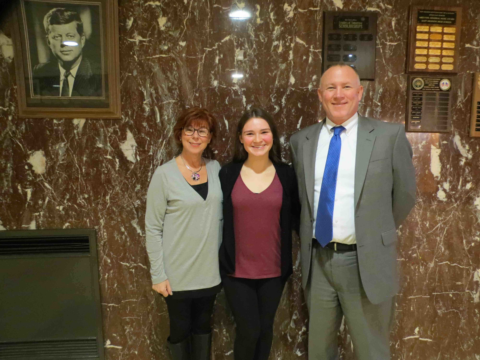 East Meadow High School Guidance Counselor and HOBY Committee Chairperson Mona Allen (left) and Assistant Principal Robert Hardwick congratulated sophomore Kristen Kavanagh on being named a Hugh O'Brian Youth Leadership ambassador this year.