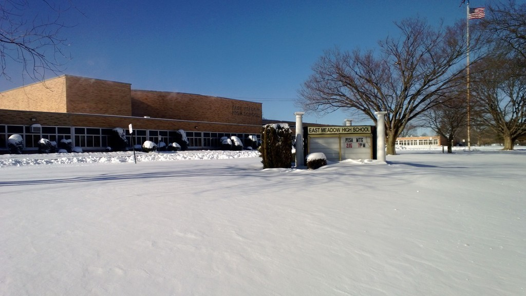 East Meadow High School was covered in snow after a past winter storm.