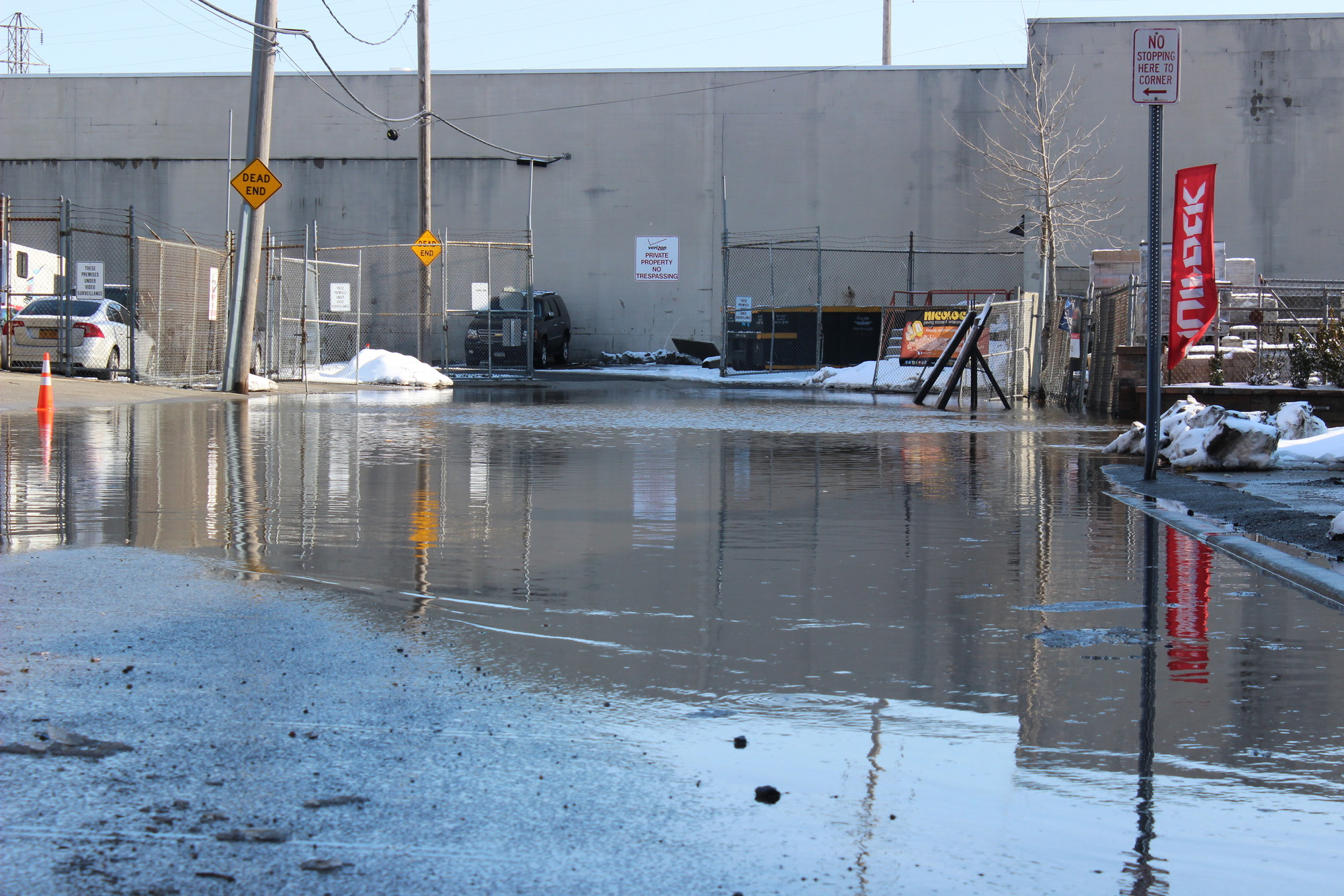 The flooding in Inwood, at the intersection of West Broadway and Taft Avenue, on Feb. 9 made the streets difficult for vehicles to negotiate.