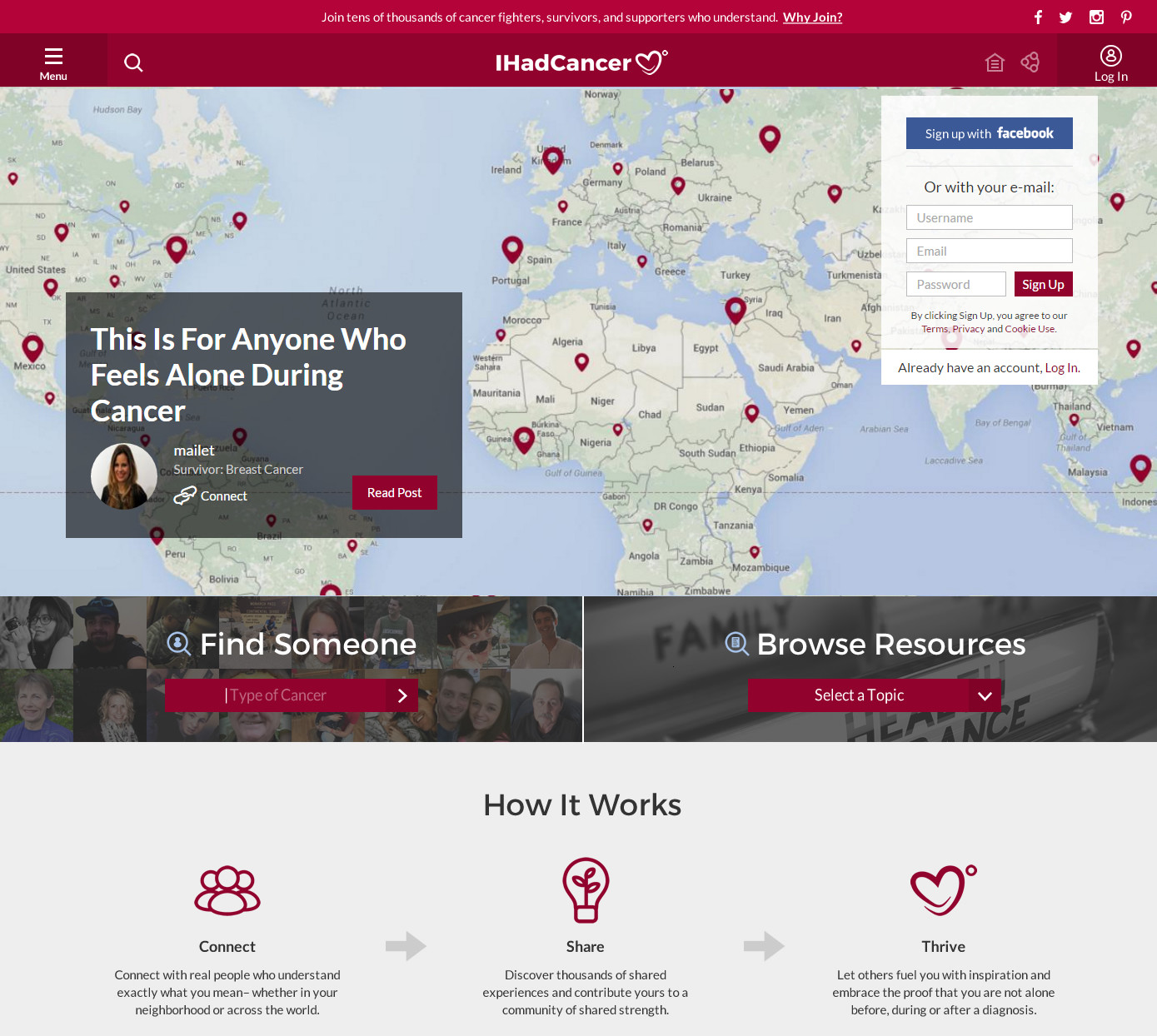 IHadCancer.com, which launched a redesign this week, helps users find one another, and share their experiences, by location or the type of cancer they're fighting or have beaten.