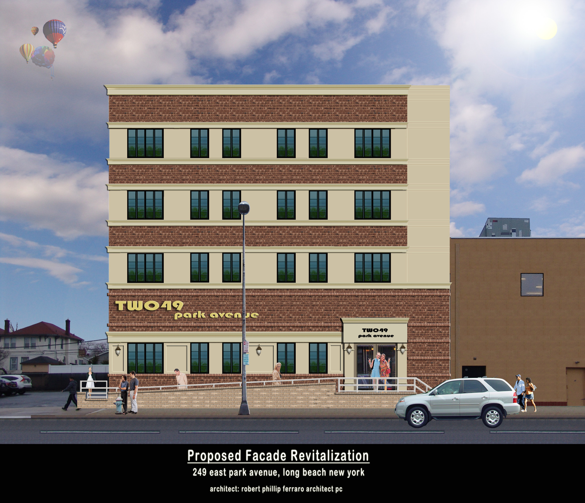 A rendering of the proposed apartment building after a major renovations.