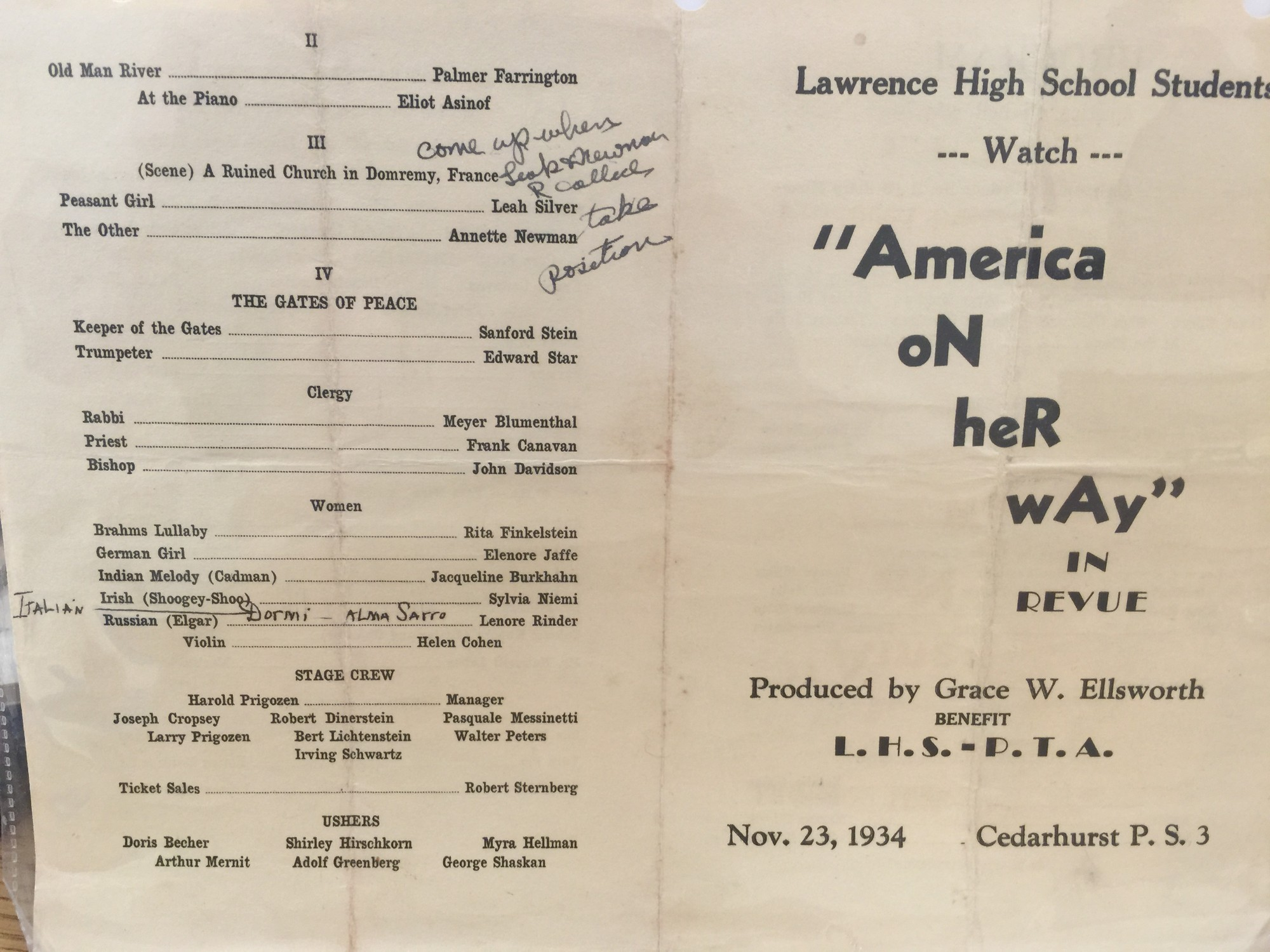 A playbill from a 1934 Lawrence High School show is part of the memorabilia the district will exhibit during the 125th anniversary celebration.