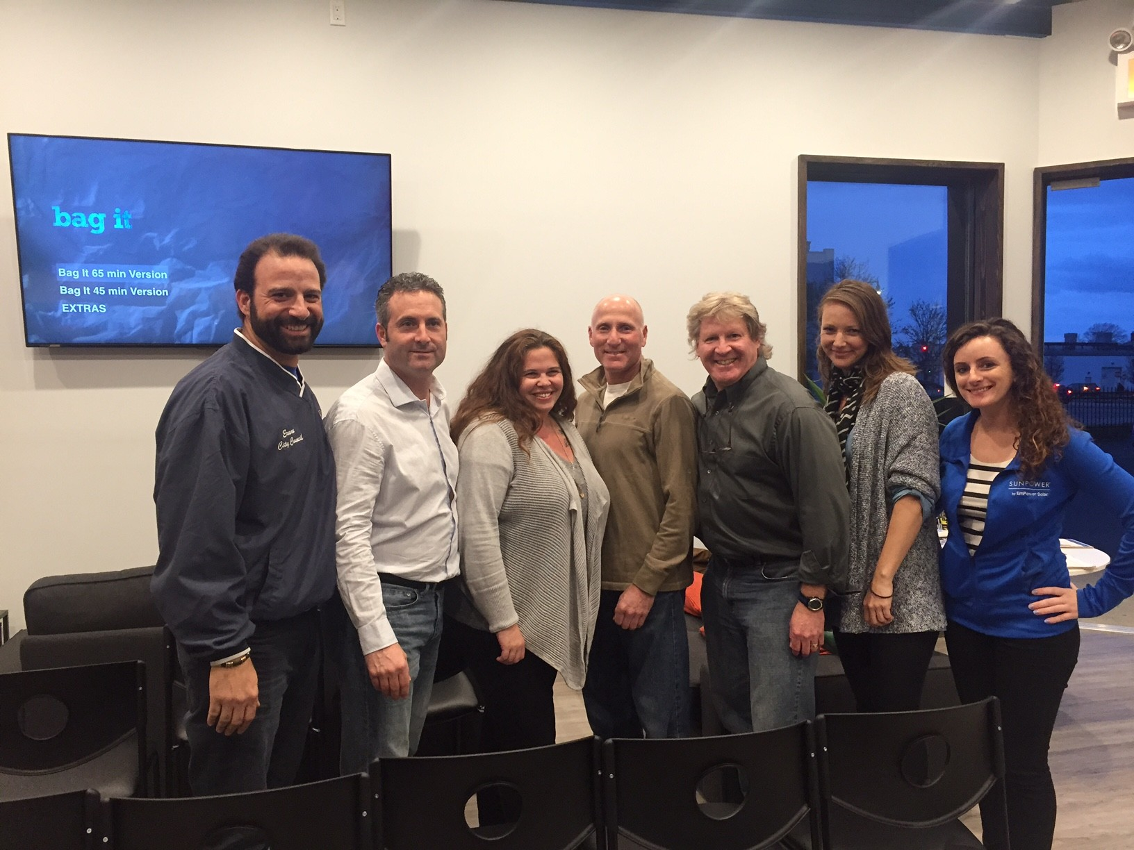 "City Council Vice President Anthony Eramo, far left, George Povall, Autumn Raubuck, Marvin Weiss, Scott Bochner, Amanda Moore and Tara Bono at a screening of the documentary film ""Bag It"" on April 1 at Bridgeworks in Long Beach. Photo by Anthony Rifilato/Herald"