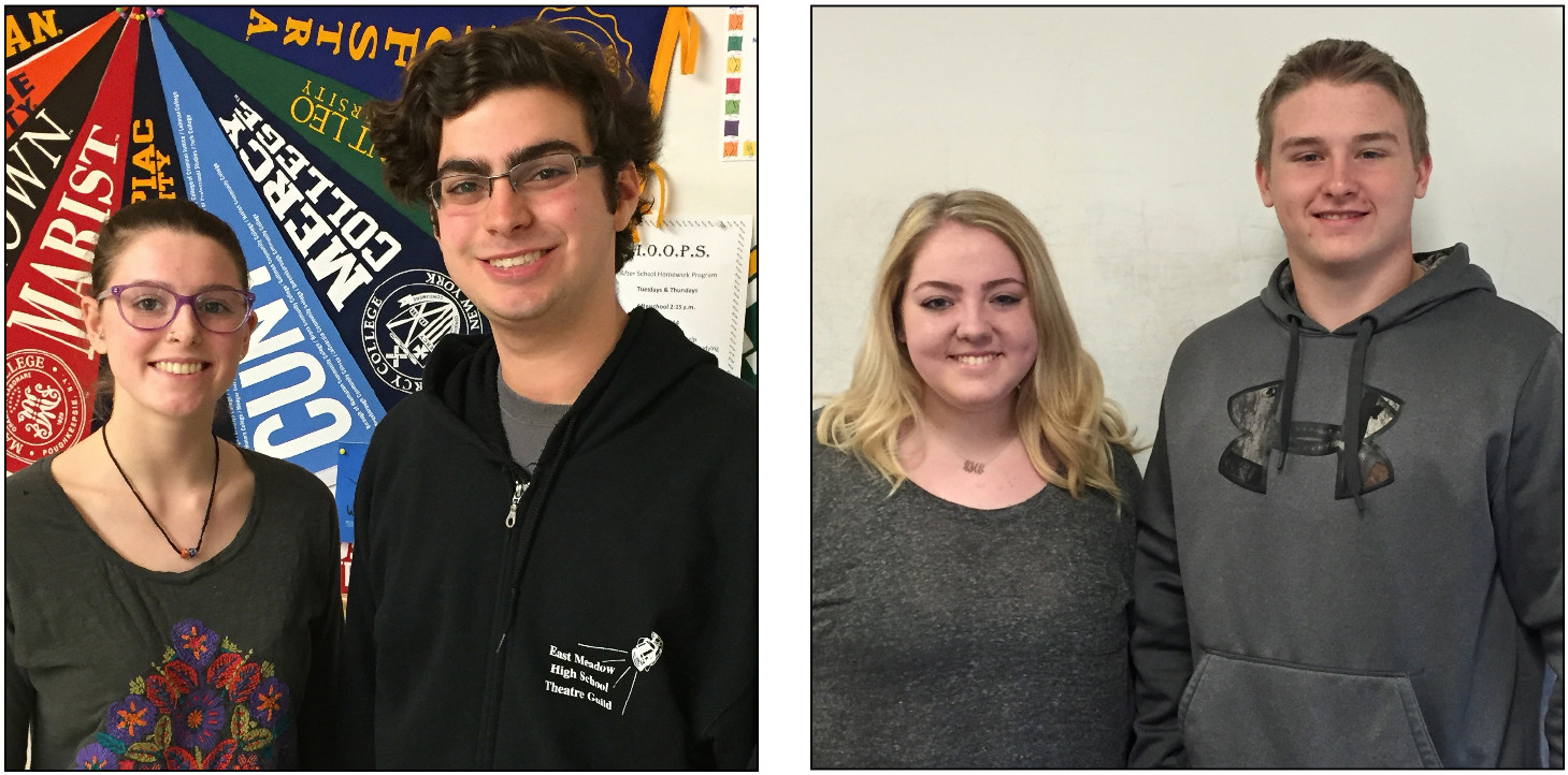 East Meadow High School seniors Katelyn Bensen-Crawford and Max De George and Regina Hickey and Phil Kandel, two W.T. Clarke High School students, will be voting in the presidential election