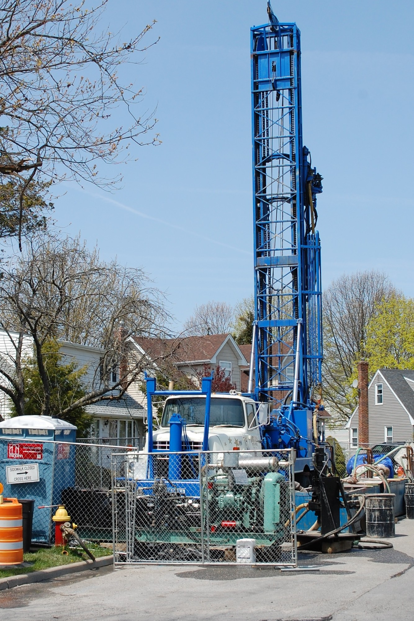 Monitoring wells are being drilled on residential streets in North Wantagh and northern Seaford to measure chemical contamination.