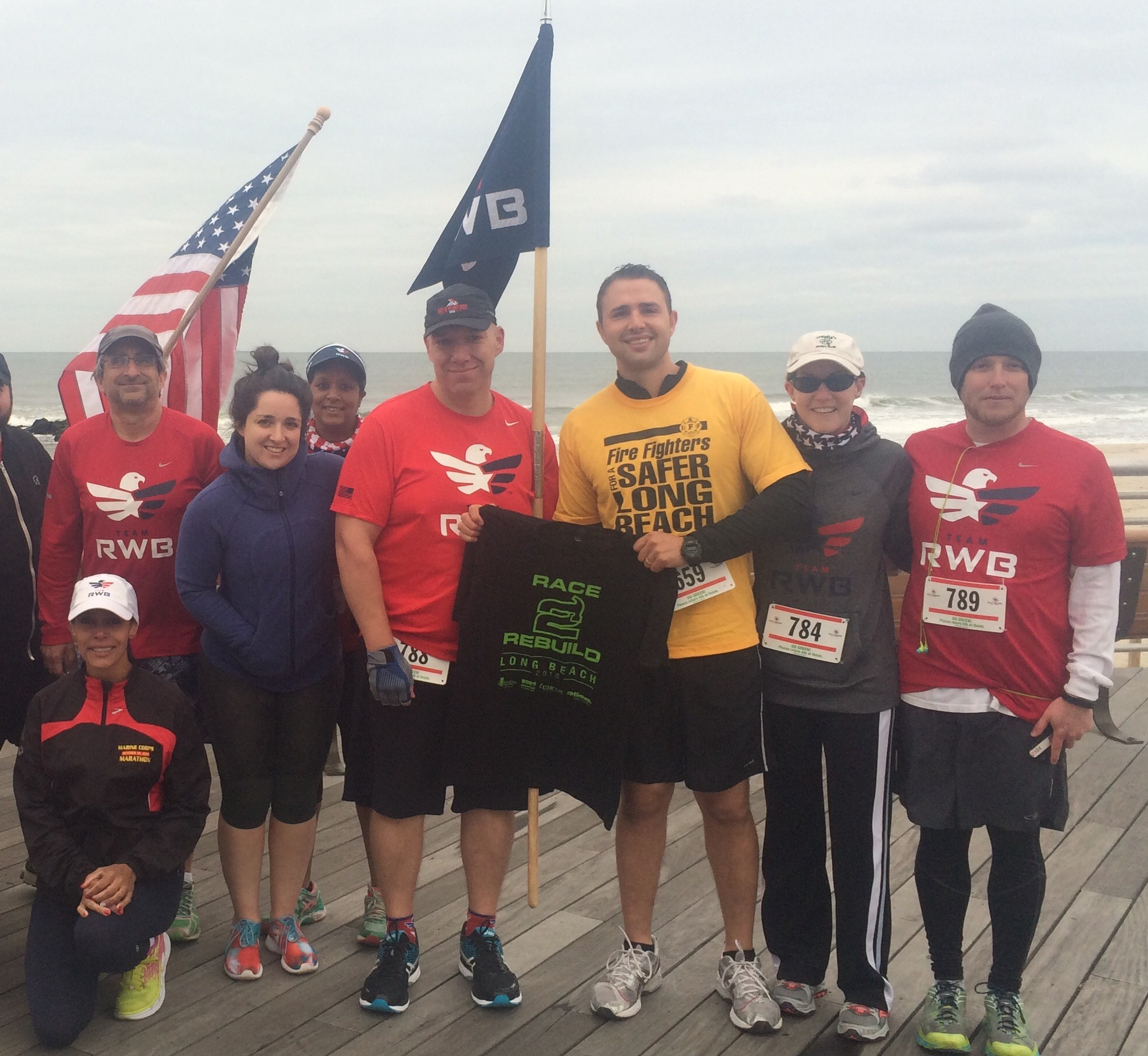 Members of Team Rubicon and local firefighter Sam Pinto at the Race2Rebuild event