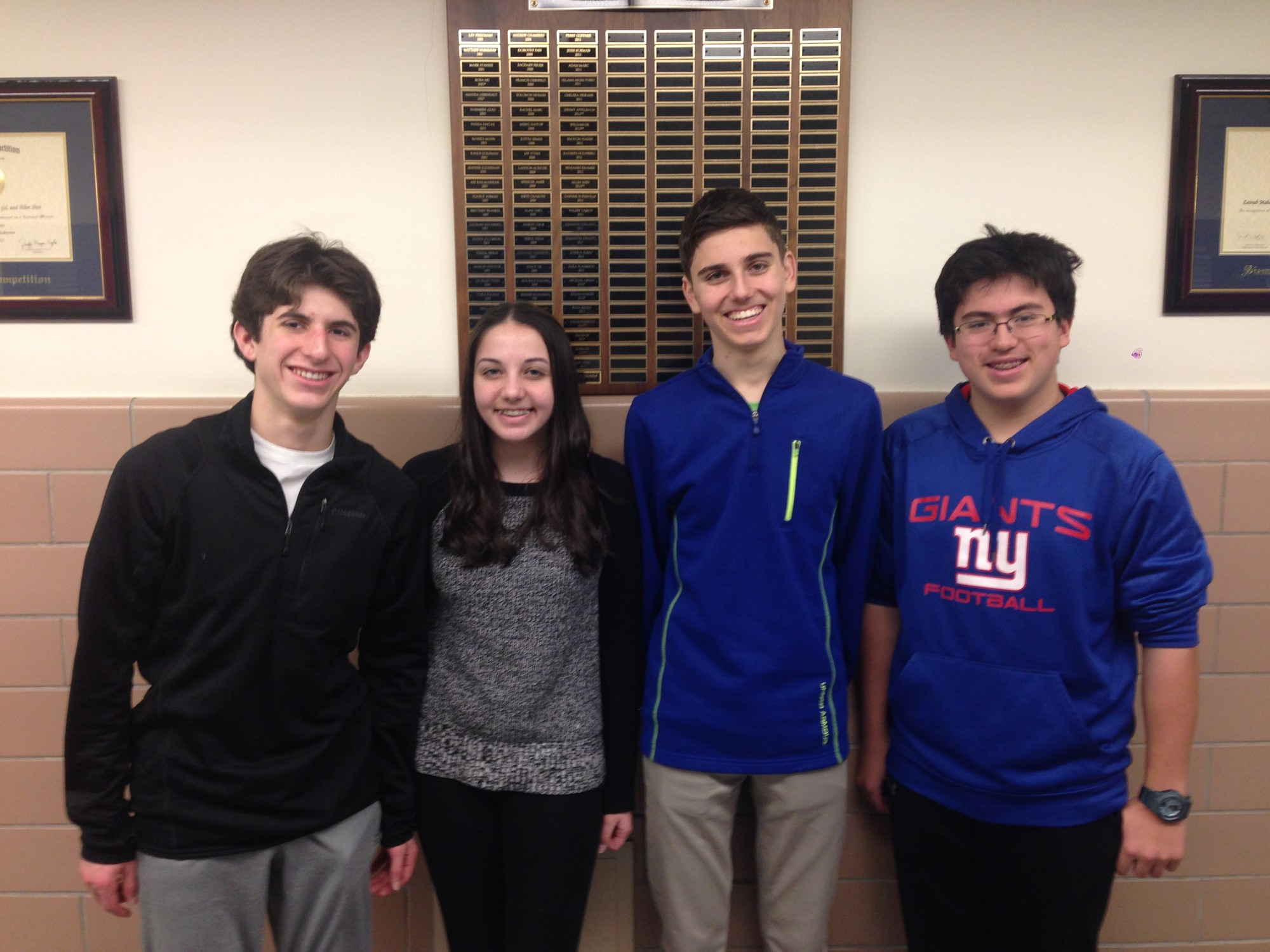 Ian Acriche, left, Natalie Aller, Samuel Bogdanov and Brandon Weiss, all Hewlett High freshmen, will compete in the nationals of the eCYBERMISSION science contest.