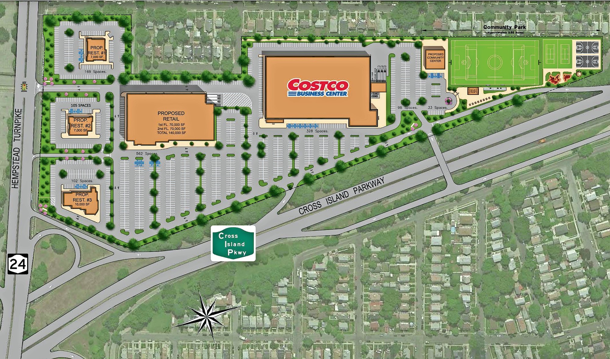 the blumenfeld development groups plan for belmont park consists of a smaller costco along with restaurants