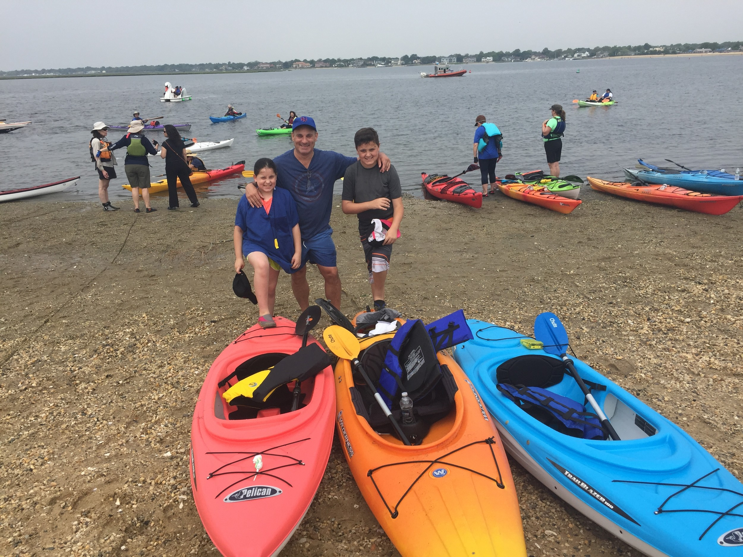 Charles Parisi, of East Rockaway, brought his children Olivia, 8, and Nicholas, 11, along for their maiden kayaking voyage