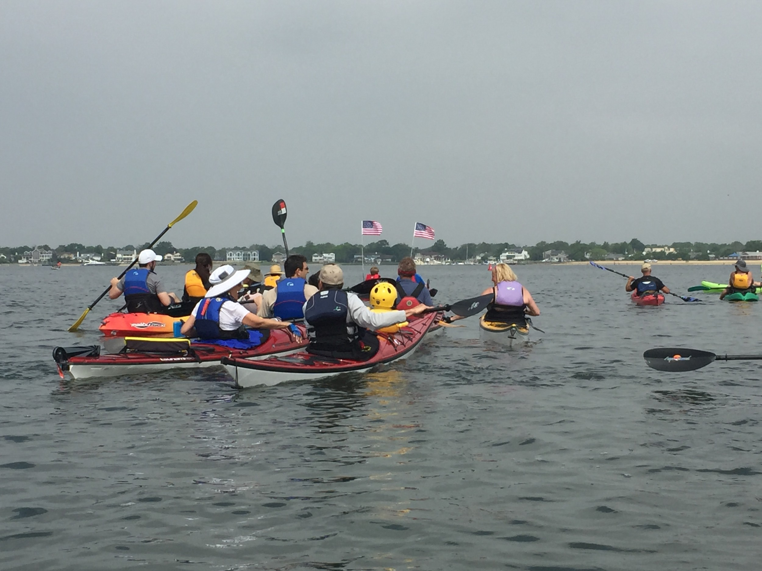 Groups of kayakers made their way across the bay to Hewlett Point Beach