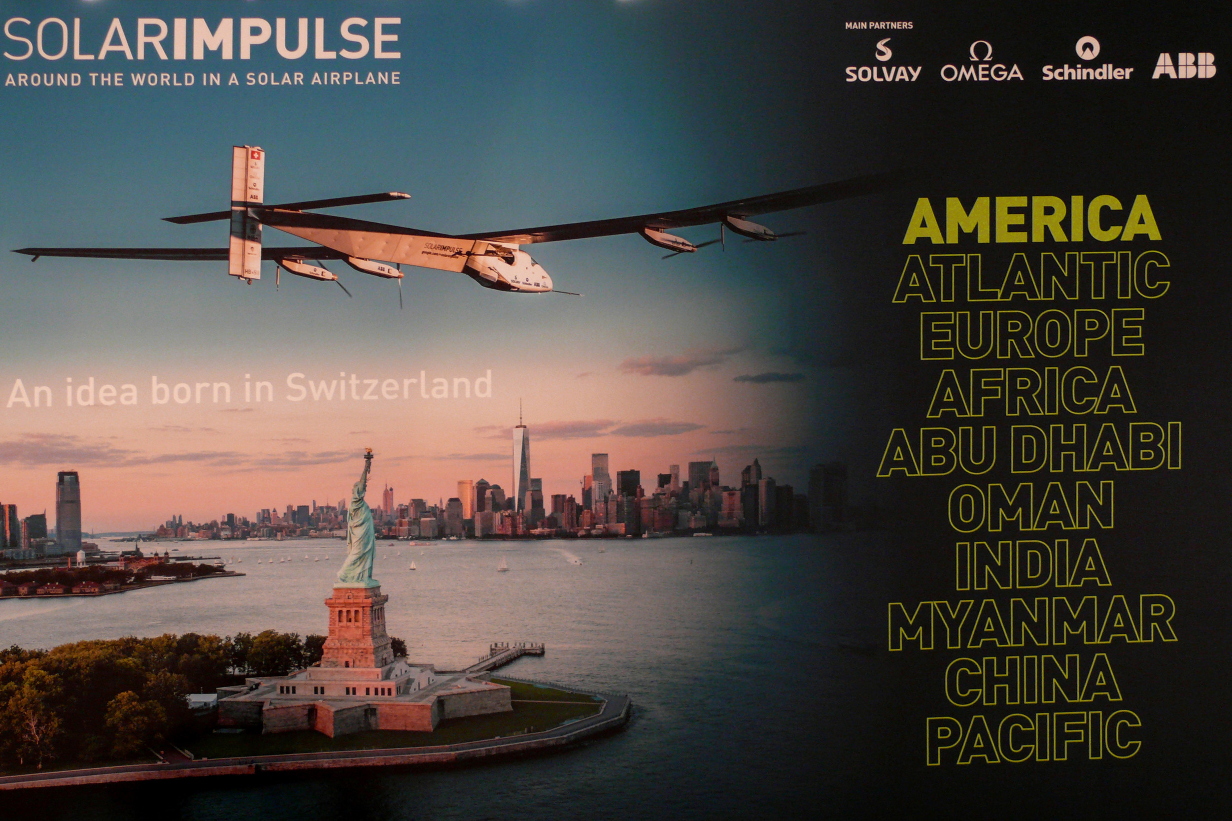 Here the banner at the presentation shows the historic fly over the Statue of LIberty. The flight plan is a way to say thank you to the United States for its own support of aviation development.